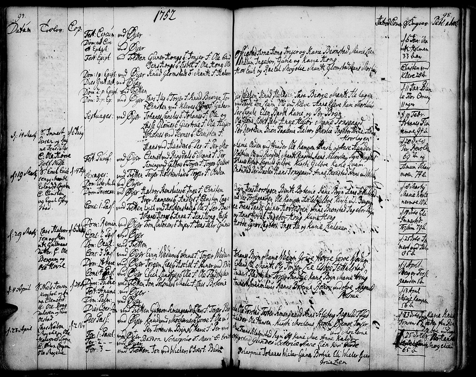 SAH, Øyer prestekontor, Ministerialbok nr. 2, 1733-1784, s. 97-98