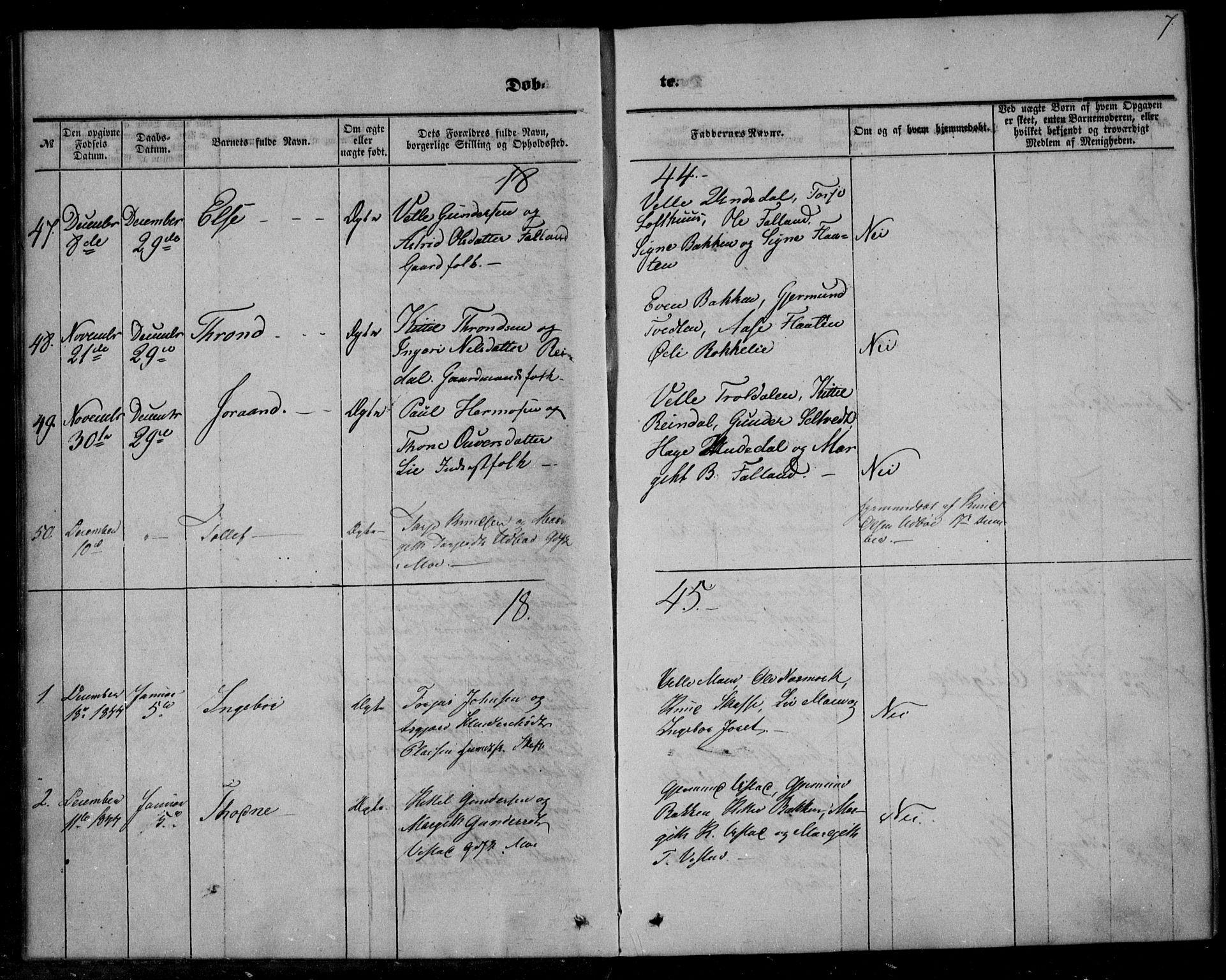 SAKO, Mo kirkebøker, F/Fa/L0005: Ministerialbok nr. I 5, 1844-1864, s. 7