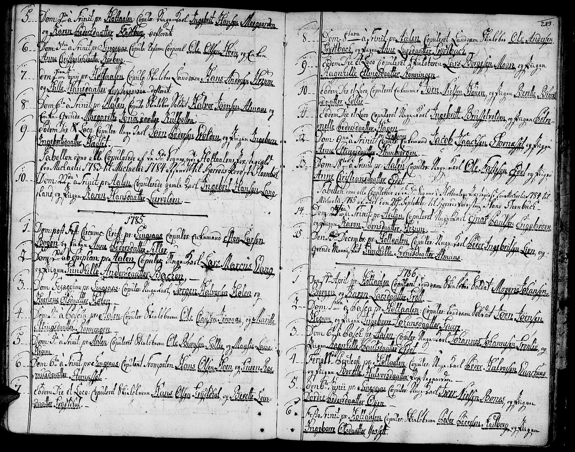 SAT, Ministerialprotokoller, klokkerbøker og fødselsregistre - Sør-Trøndelag, 685/L0952: Ministerialbok nr. 685A01, 1745-1804, s. 213