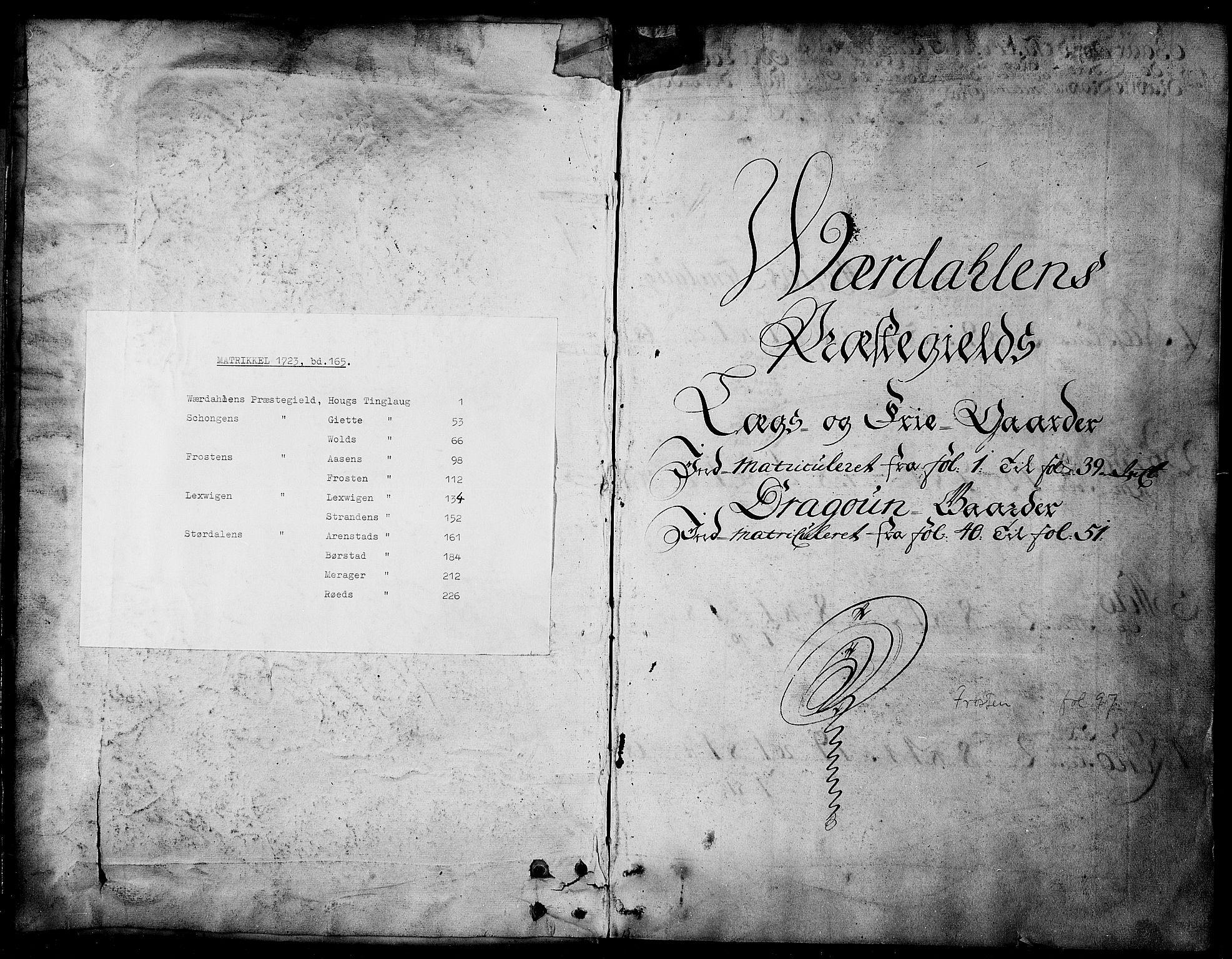 RA, Rentekammeret inntil 1814, Realistisk ordnet avdeling, N/Nb/Nbf/L0165: Stjørdal og Verdal matrikkelprotokoll, 1723, s. upaginert
