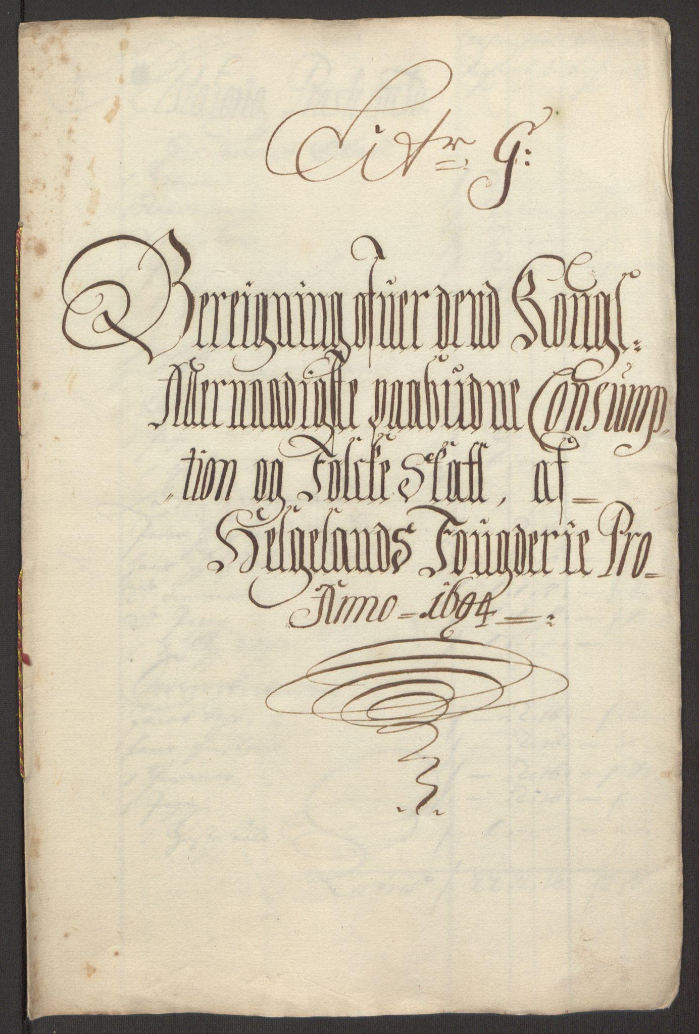 RA, Rentekammeret inntil 1814, Reviderte regnskaper, Fogderegnskap, R65/L4505: Fogderegnskap Helgeland, 1693-1696, s. 265