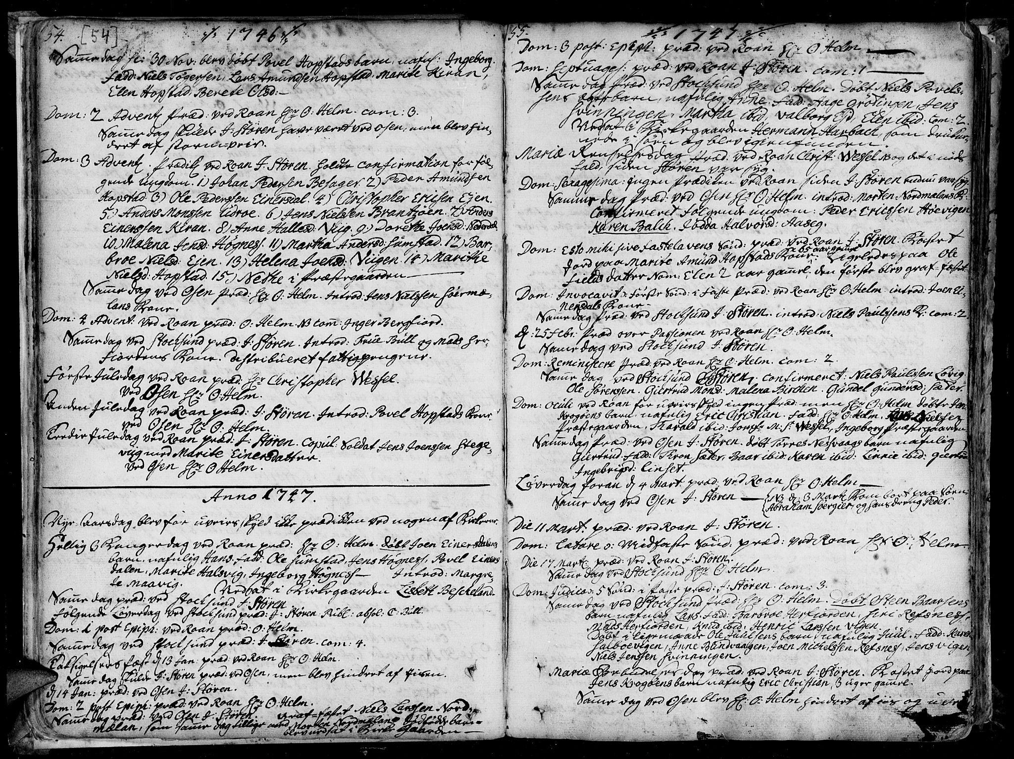 SAT, Ministerialprotokoller, klokkerbøker og fødselsregistre - Sør-Trøndelag, 657/L0700: Ministerialbok nr. 657A01, 1732-1801, s. 54-55