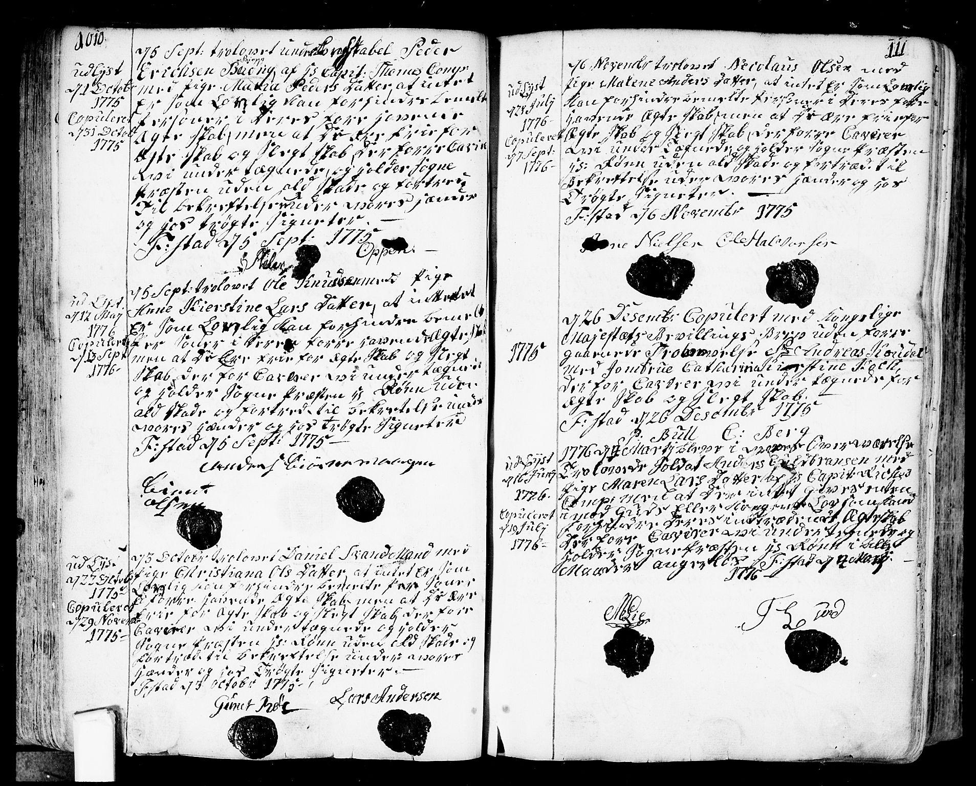 SAO, Fredrikstad prestekontor Kirkebøker, F/Fa/L0002: Ministerialbok nr. 2, 1750-1804, s. 110-111
