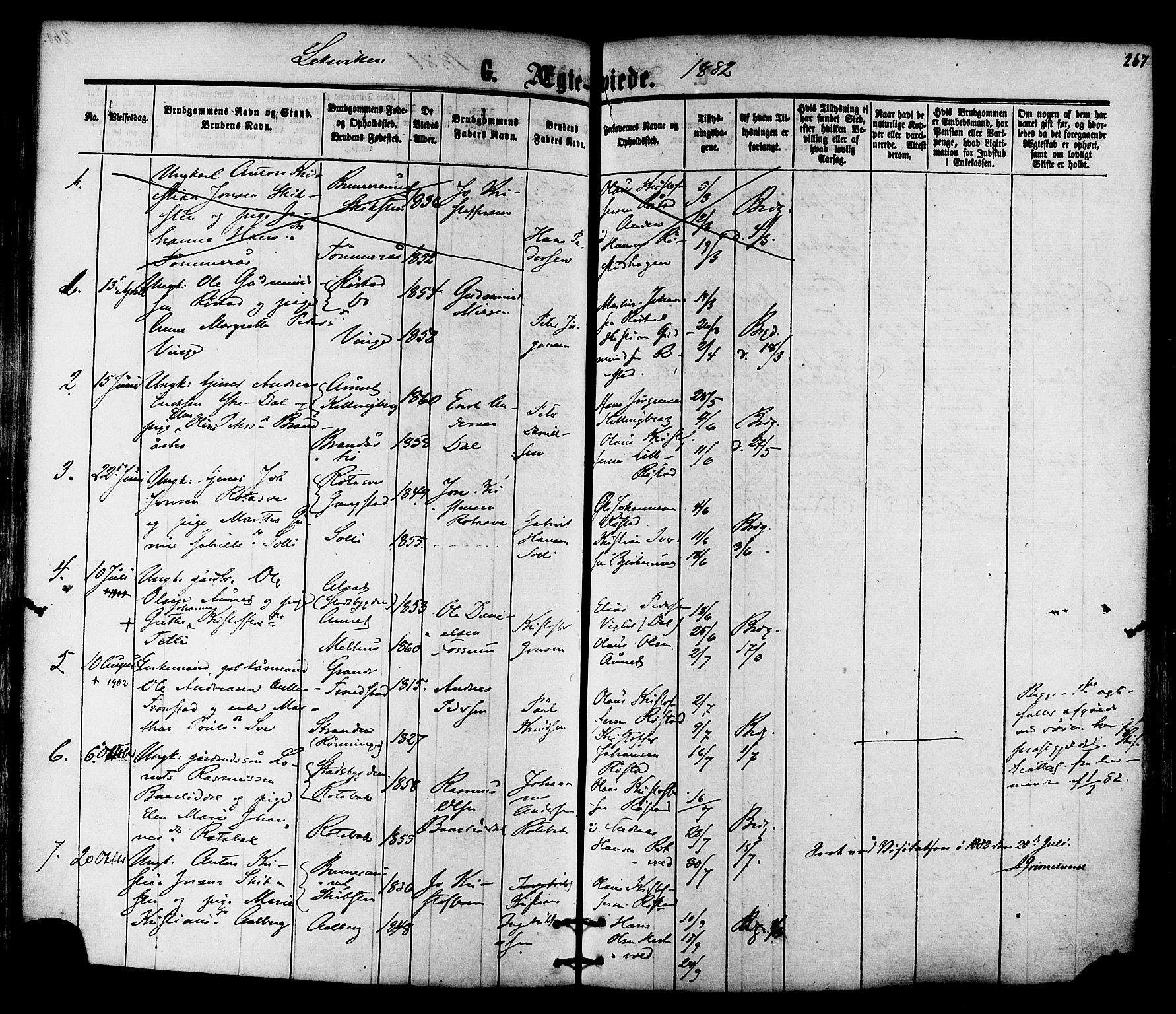 SAT, Ministerialprotokoller, klokkerbøker og fødselsregistre - Nord-Trøndelag, 701/L0009: Ministerialbok nr. 701A09 /1, 1864-1882, s. 267