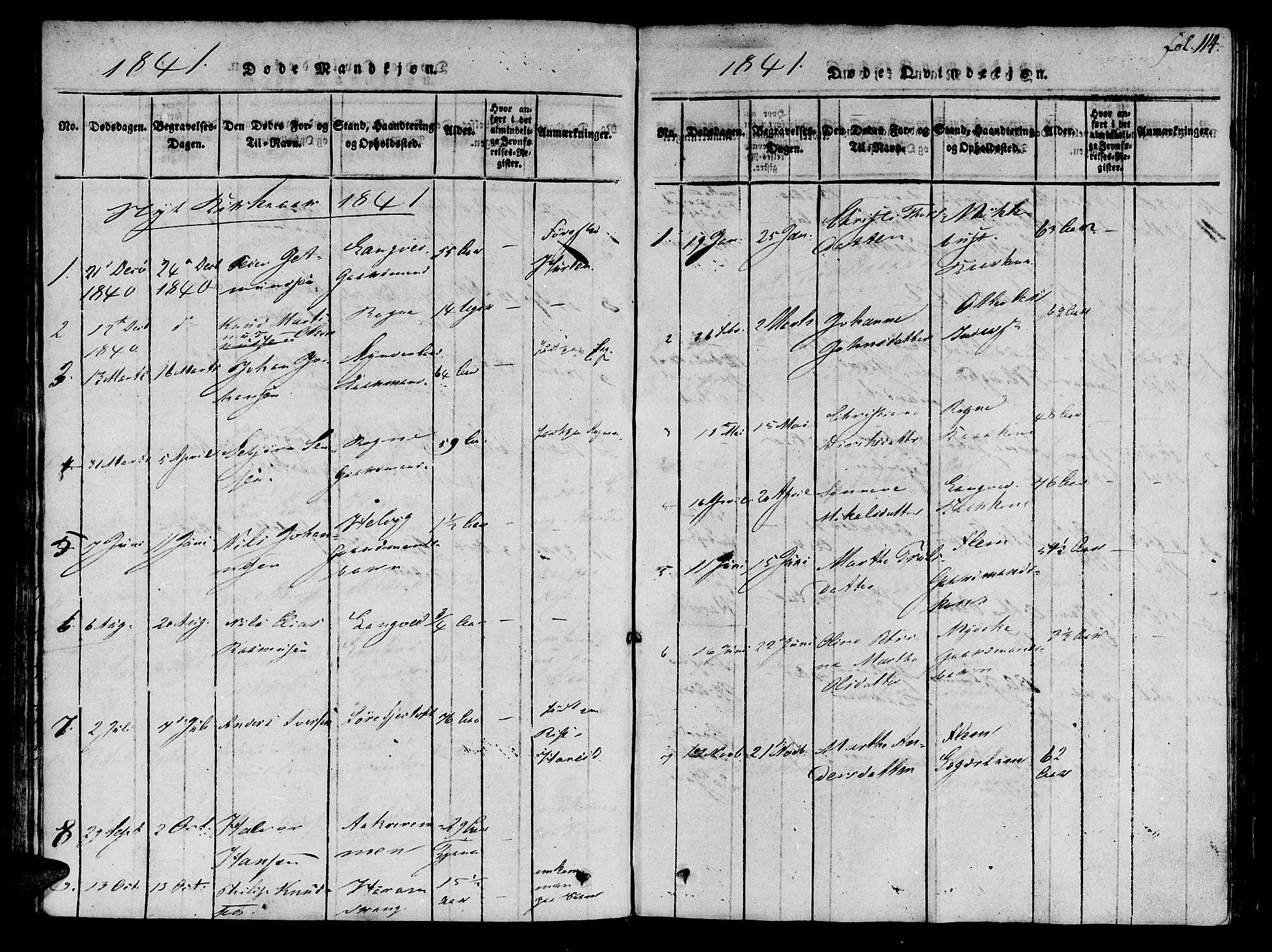 SAT, Ministerialprotokoller, klokkerbøker og fødselsregistre - Møre og Romsdal, 536/L0495: Ministerialbok nr. 536A04, 1818-1847, s. 114