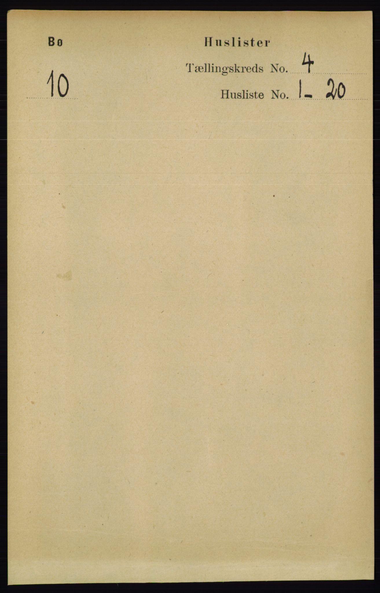 RA, Folketelling 1891 for 0821 Bø herred, 1891, s. 1200