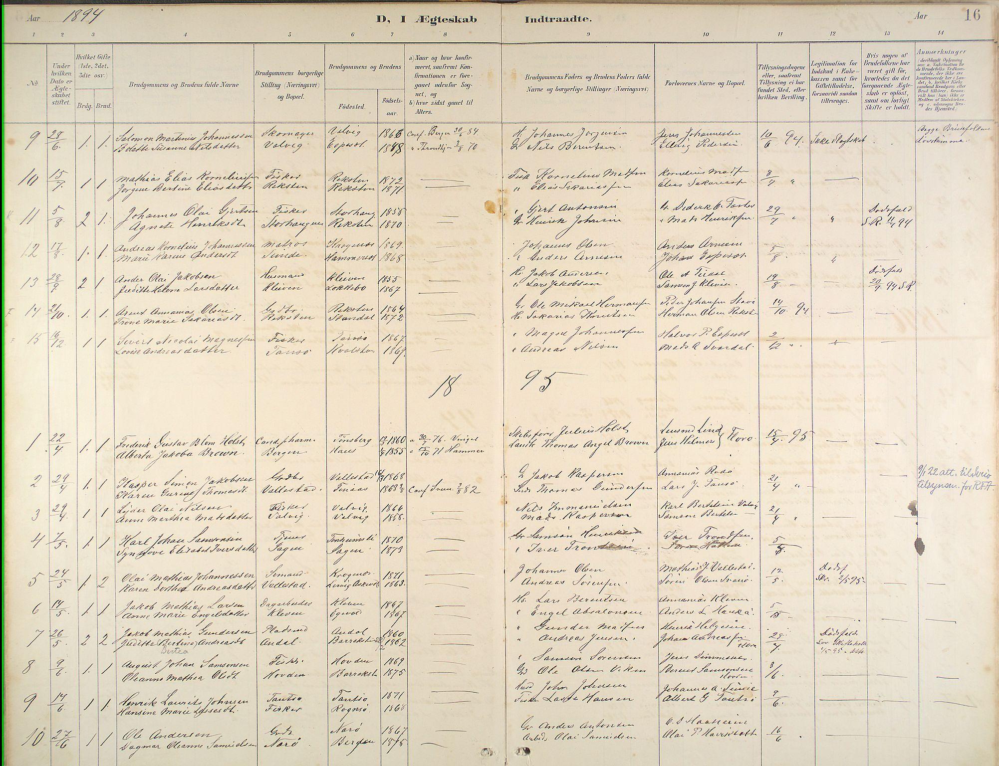 Kinn Sokneprestembete, Ministerialbok nr. B 3, 1886-1936, s. 16