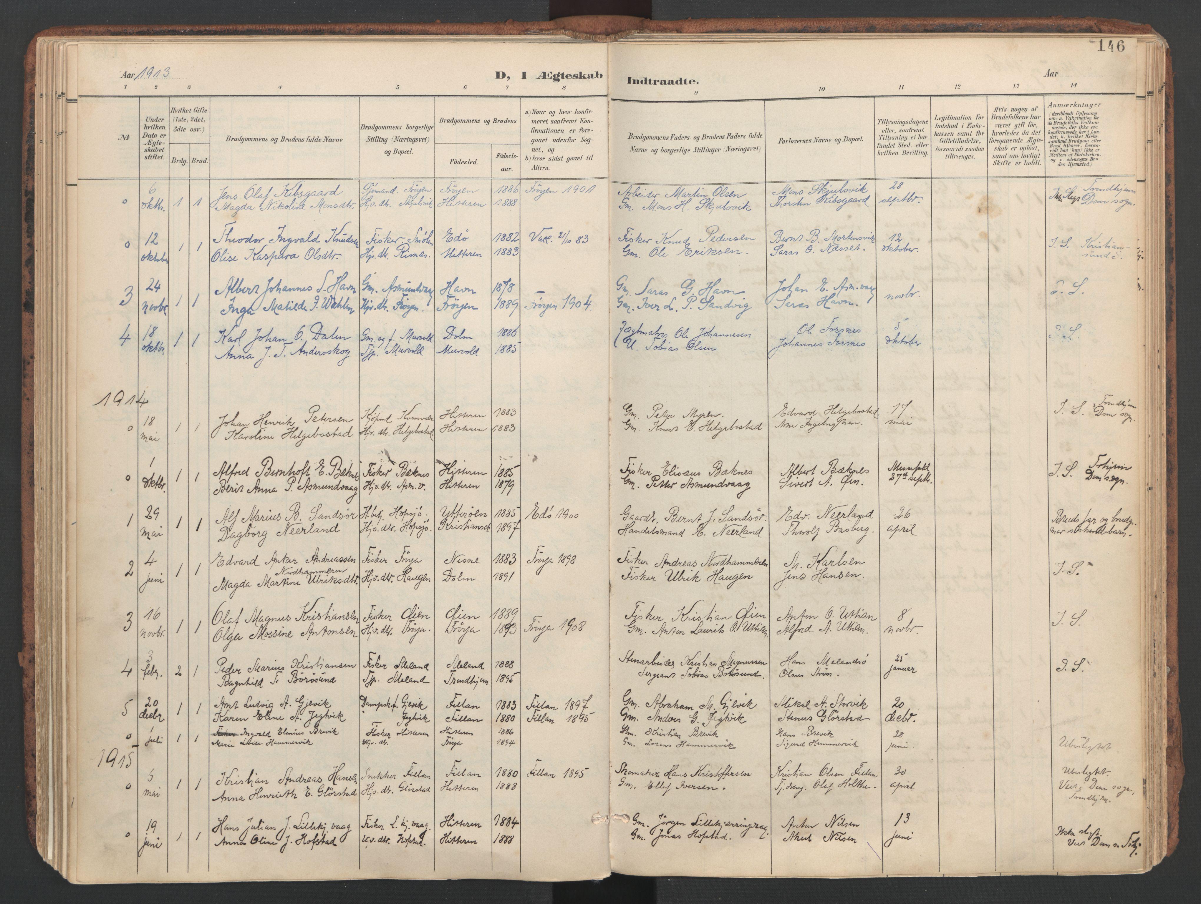 SAT, Ministerialprotokoller, klokkerbøker og fødselsregistre - Sør-Trøndelag, 634/L0537: Ministerialbok nr. 634A13, 1896-1922, s. 146