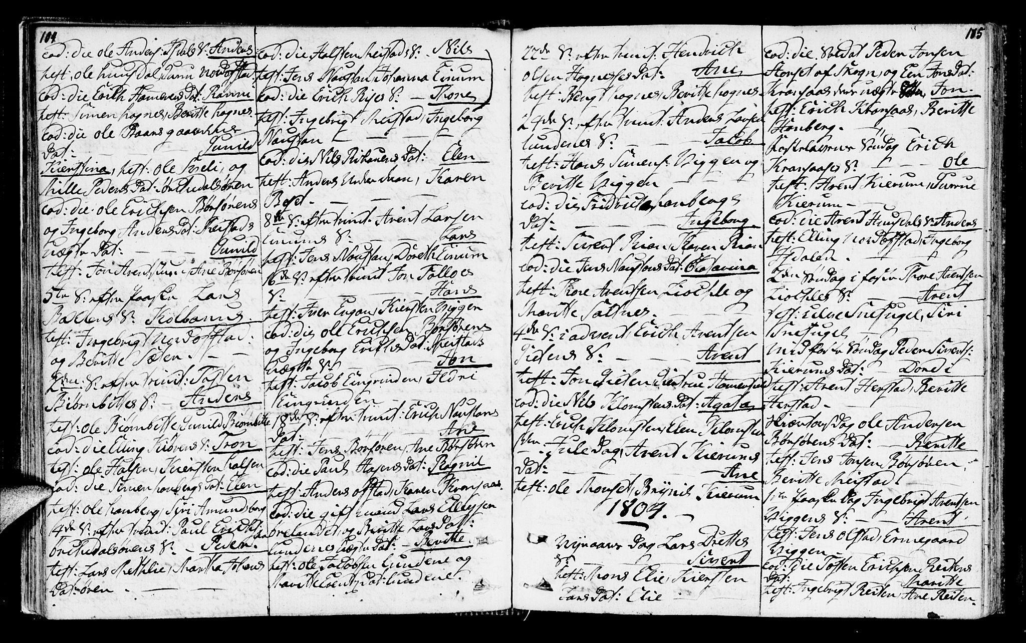 SAT, Ministerialprotokoller, klokkerbøker og fødselsregistre - Sør-Trøndelag, 665/L0769: Ministerialbok nr. 665A04, 1803-1816, s. 104-105