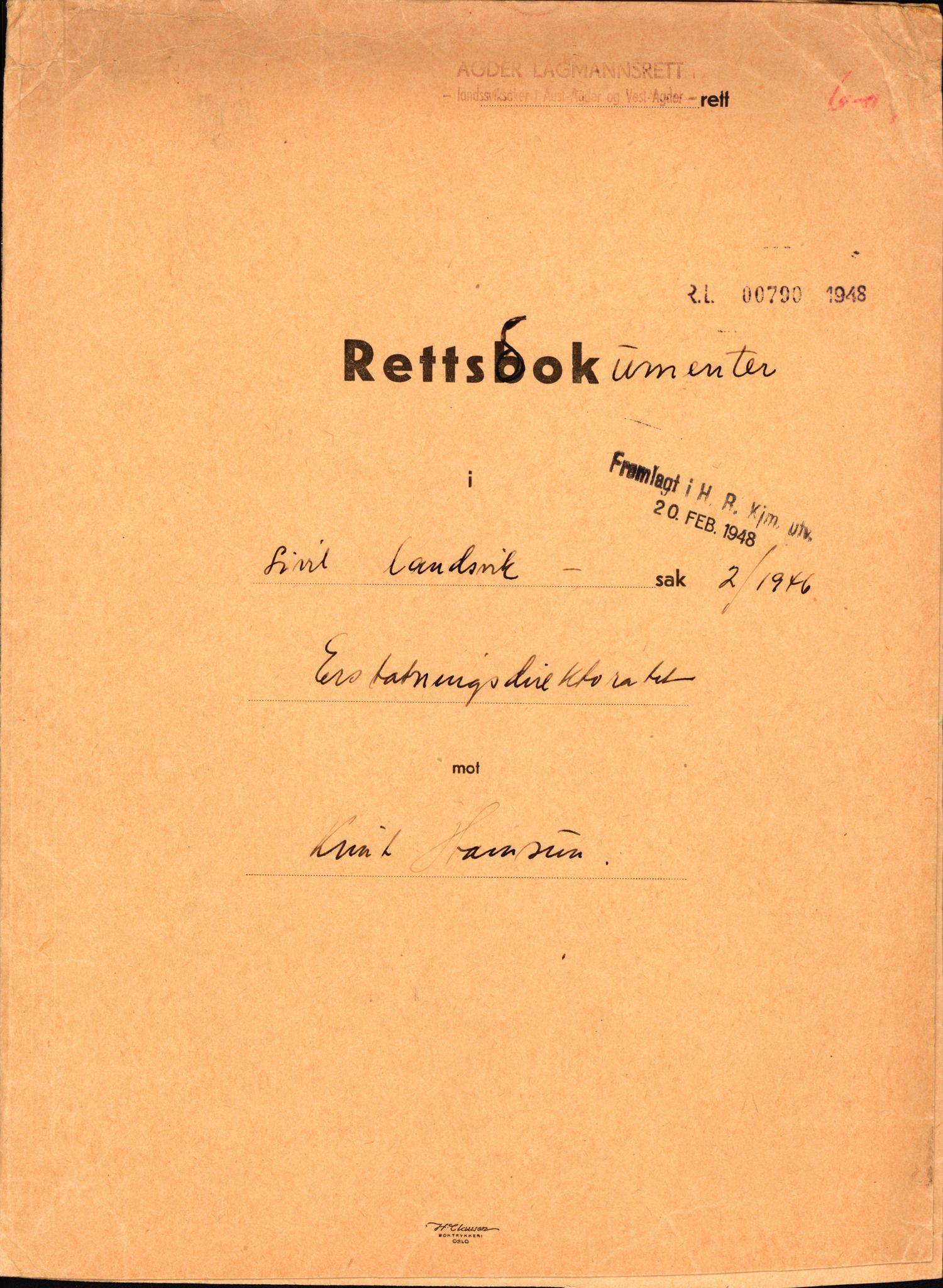 RA, Landssvikarkivet, Arendal politikammer, D/Dc/L0029: Anr. 192/45, 1945-1951, s. 609