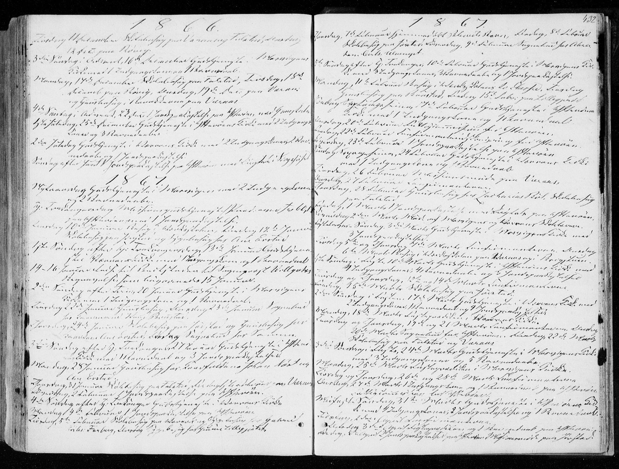 SAT, Ministerialprotokoller, klokkerbøker og fødselsregistre - Nord-Trøndelag, 722/L0218: Ministerialbok nr. 722A05, 1843-1868, s. 432
