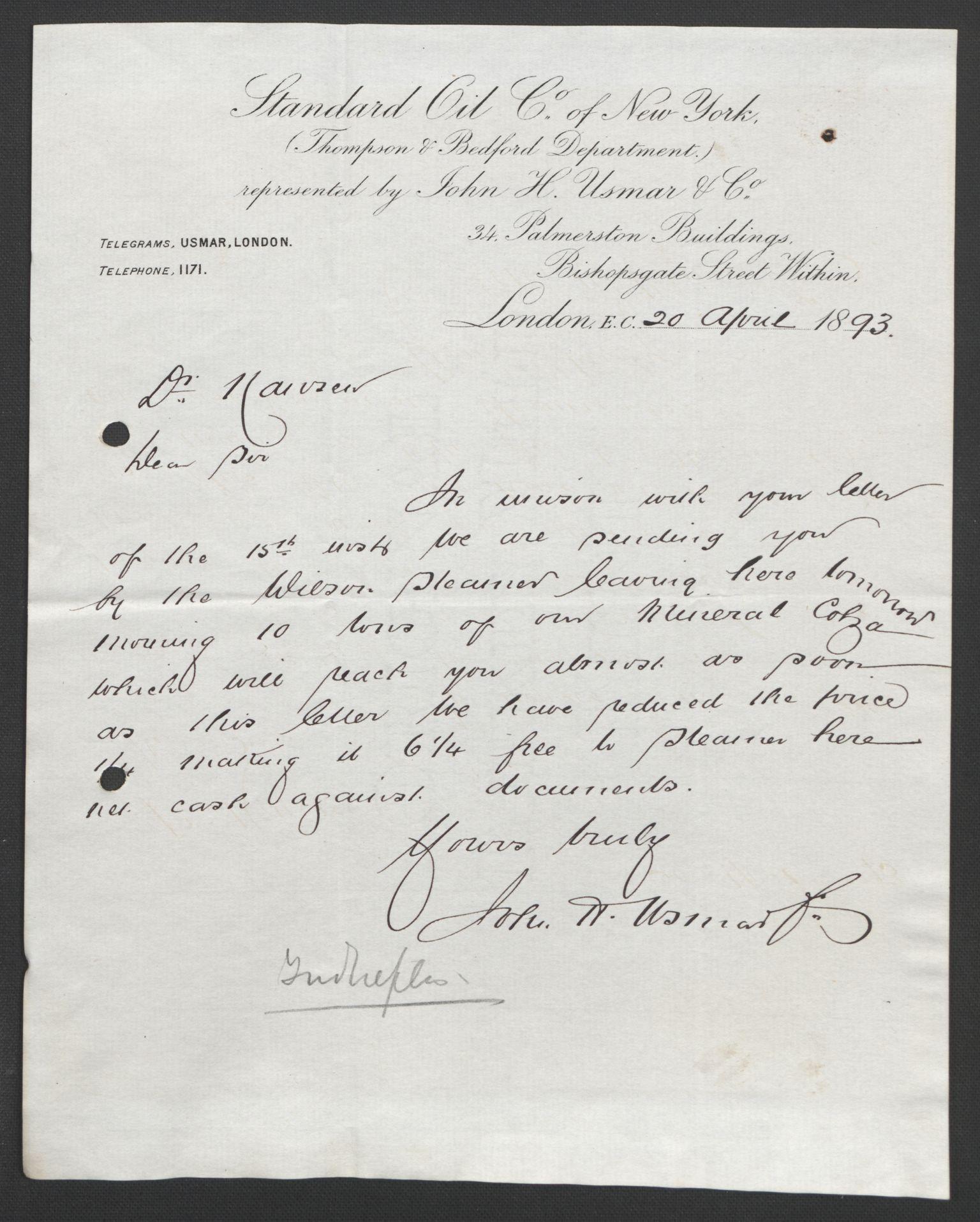 RA, Arbeidskomitéen for Fridtjof Nansens polarekspedisjon, D/L0003: Innk. brev og telegrammer vedr. proviant og utrustning, 1893, s. 391