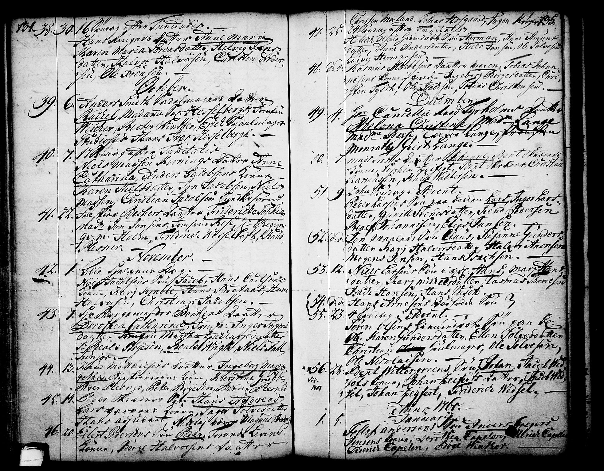 SAKO, Skien kirkebøker, F/Fa/L0003: Ministerialbok nr. 3, 1755-1791, s. 134-135