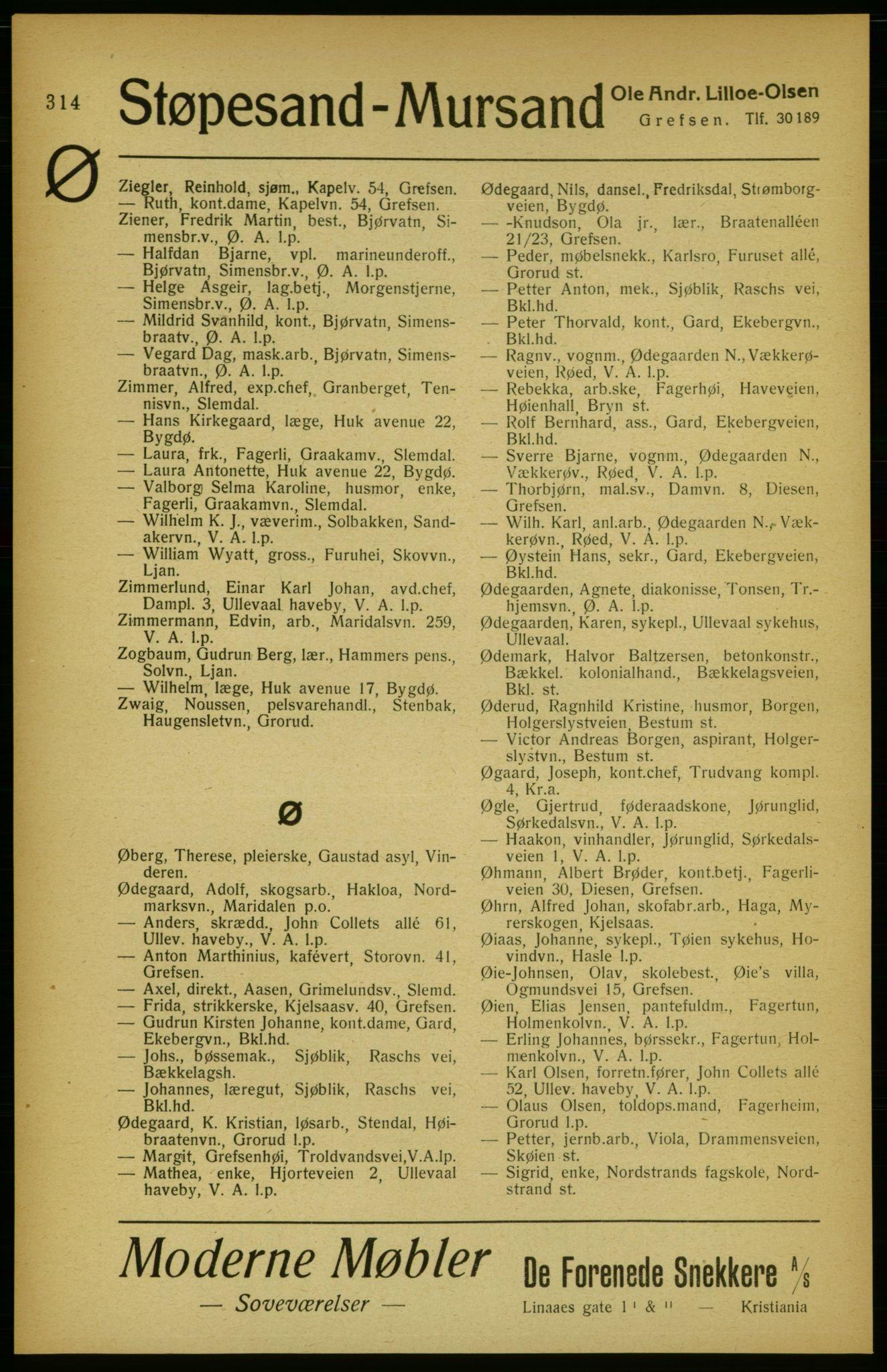 RA, Aker adressebok/adressekalender (publikasjon)*, 1922, s. 314