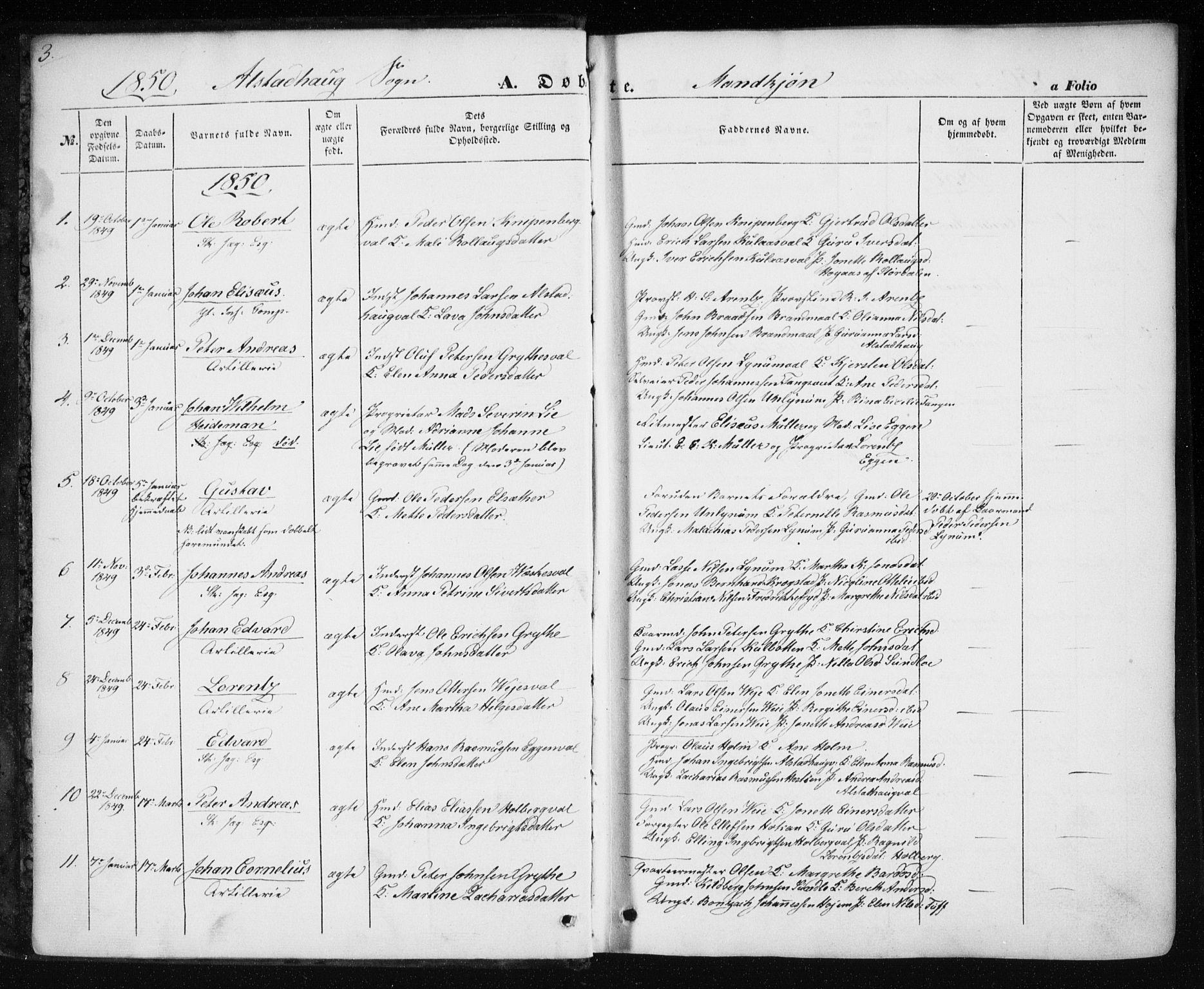 SAT, Ministerialprotokoller, klokkerbøker og fødselsregistre - Nord-Trøndelag, 717/L0154: Ministerialbok nr. 717A07 /1, 1850-1862, s. 3