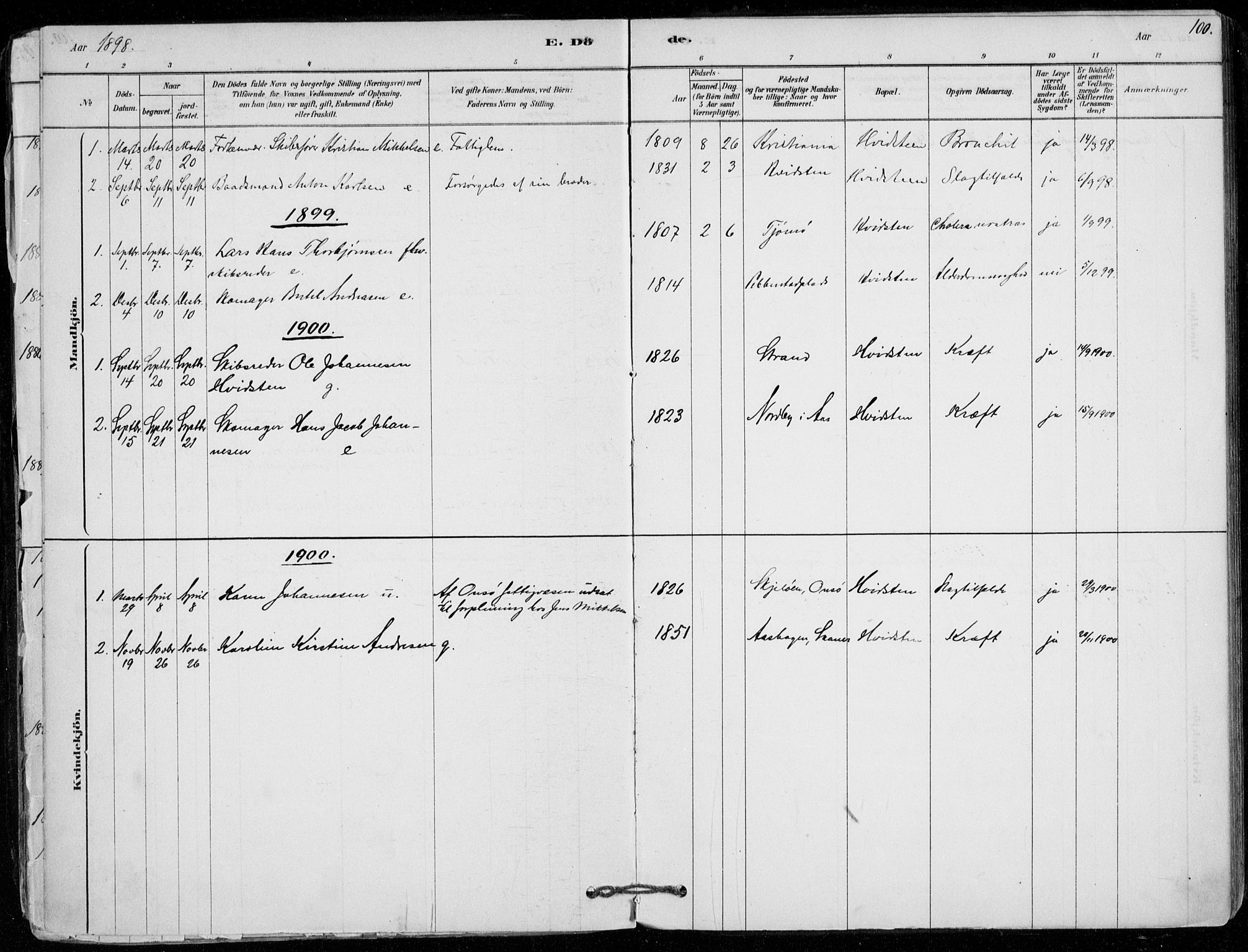 SAO, Vestby prestekontor Kirkebøker, F/Fd/L0001: Ministerialbok nr. IV 1, 1878-1945, s. 100