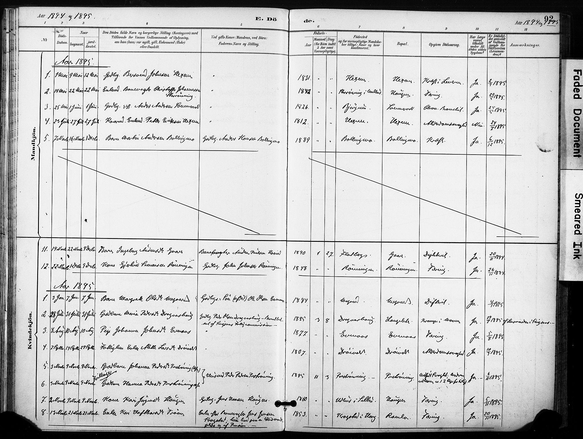 SAT, Ministerialprotokoller, klokkerbøker og fødselsregistre - Sør-Trøndelag, 685/L0973: Ministerialbok nr. 685A10, 1891-1907, s. 92