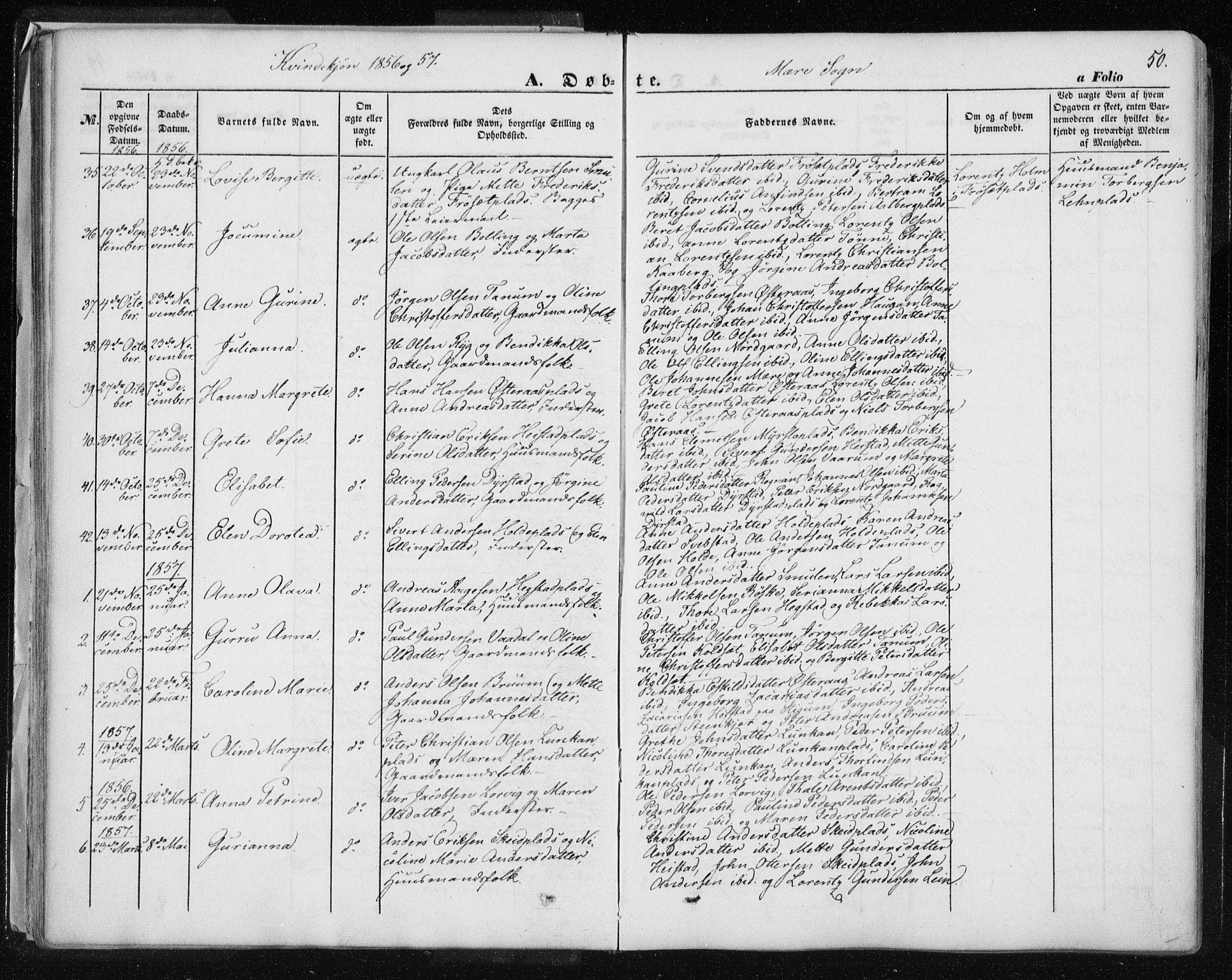 SAT, Ministerialprotokoller, klokkerbøker og fødselsregistre - Nord-Trøndelag, 735/L0342: Ministerialbok nr. 735A07 /1, 1849-1862, s. 50