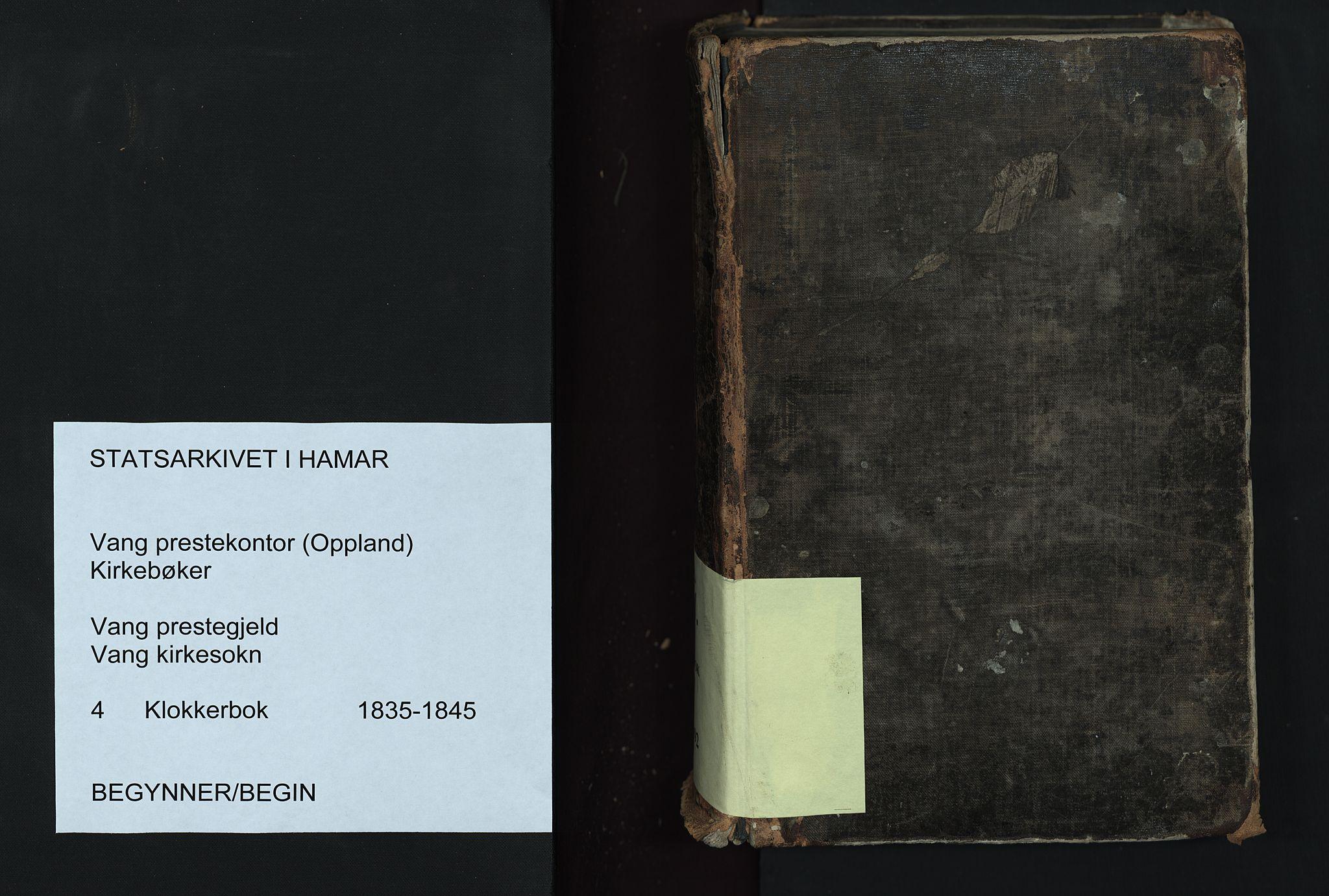 SAH, Vang prestekontor, Valdres, Klokkerbok nr. 4, 1835-1892