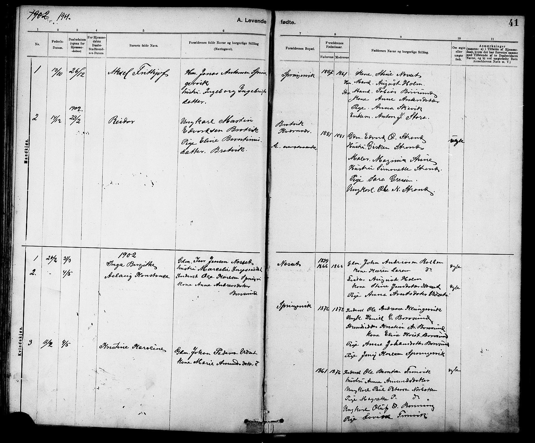 SAT, Ministerialprotokoller, klokkerbøker og fødselsregistre - Sør-Trøndelag, 639/L0573: Klokkerbok nr. 639C01, 1890-1905, s. 41