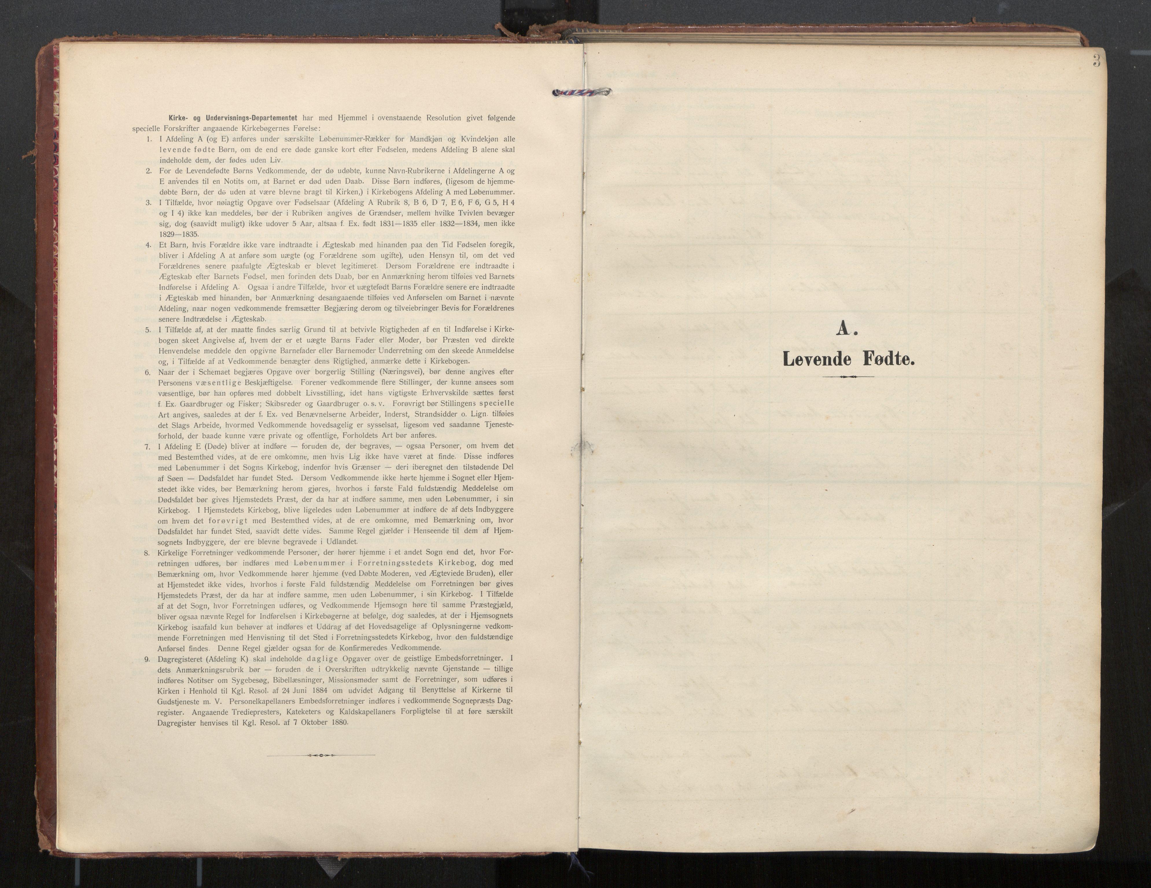 SAT, Ministerialprotokoller, klokkerbøker og fødselsregistre - Nordland, 884/L1194: Ministerialbok nr. 884A02, 1906-1937, s. 3