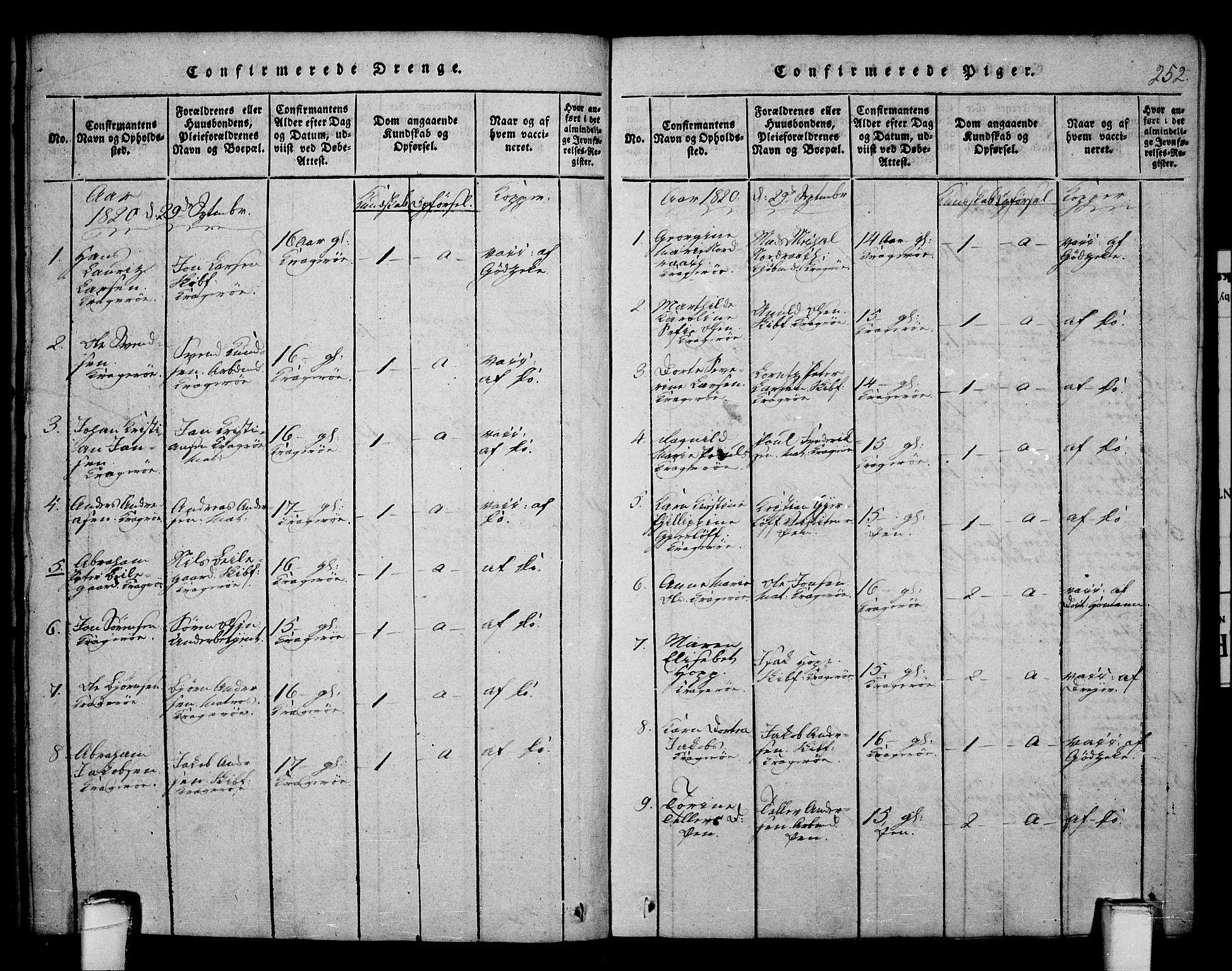 SAKO, Kragerø kirkebøker, F/Fa/L0004: Ministerialbok nr. 4, 1814-1831, s. 252