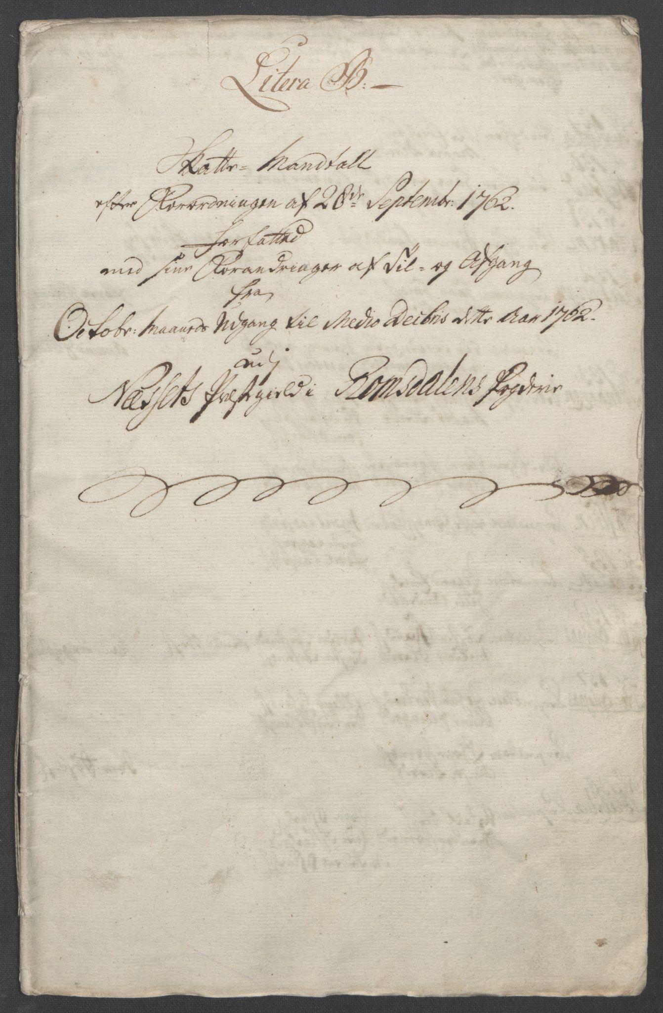 RA, Rentekammeret inntil 1814, Reviderte regnskaper, Fogderegnskap, R55/L3730: Ekstraskatten Romsdal, 1762-1763, s. 168