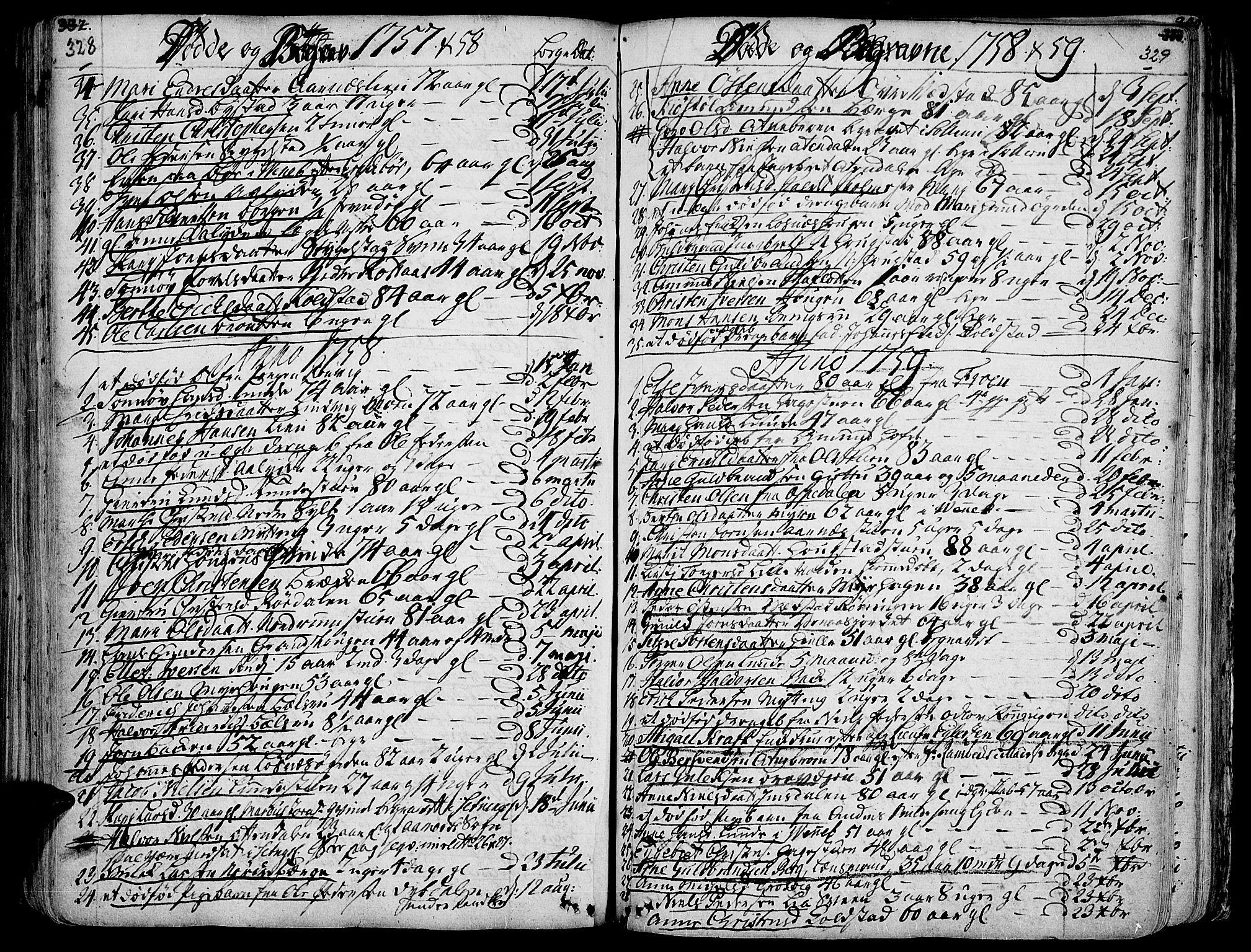 SAH, Ringebu prestekontor, Ministerialbok nr. 2, 1734-1780, s. 328-329