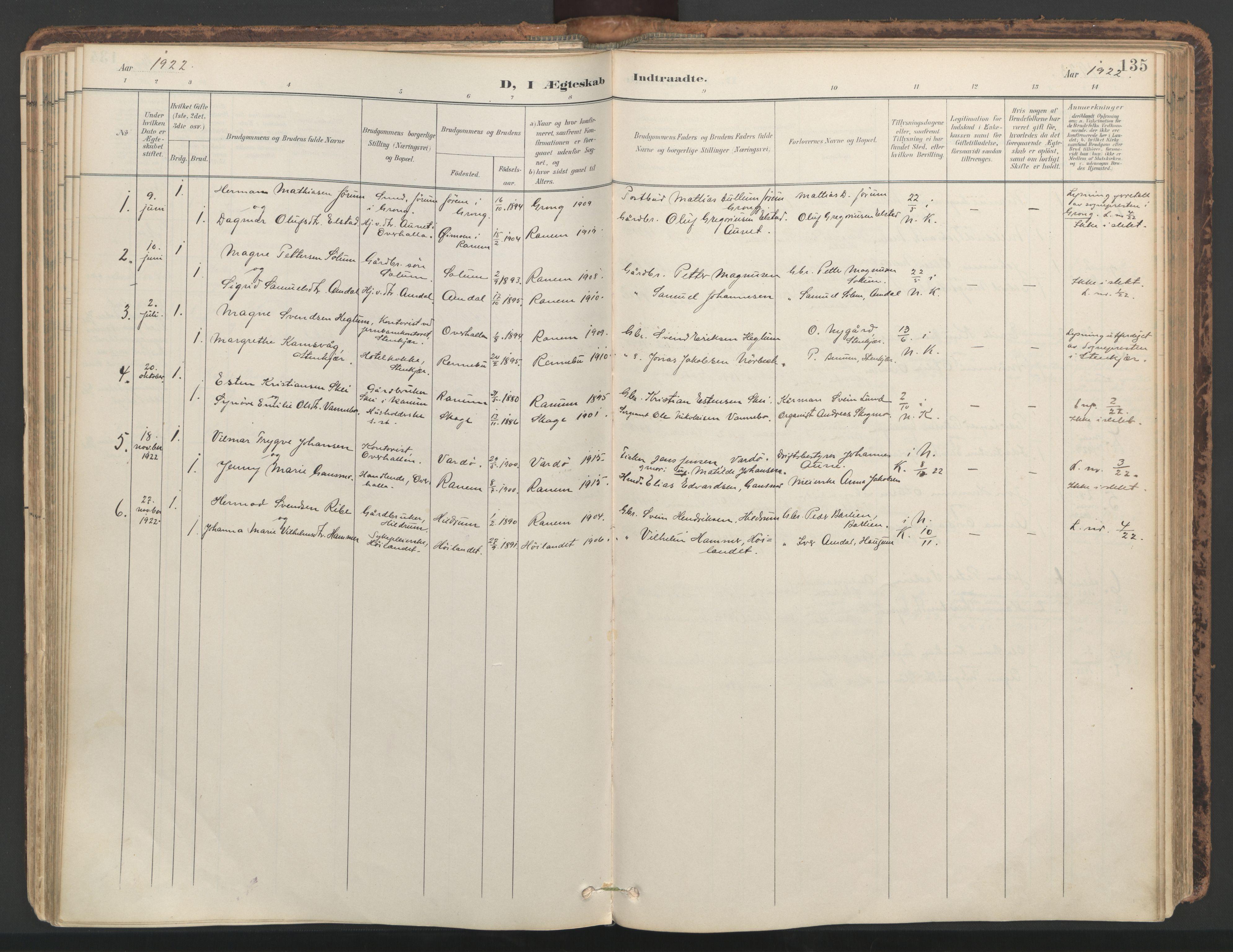 SAT, Ministerialprotokoller, klokkerbøker og fødselsregistre - Nord-Trøndelag, 764/L0556: Ministerialbok nr. 764A11, 1897-1924, s. 135