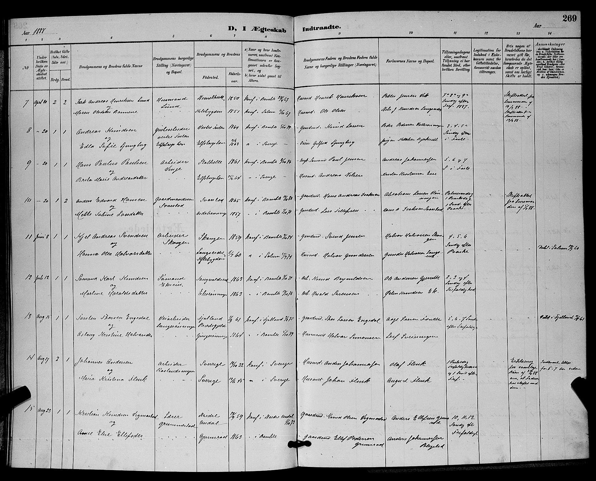 SAKO, Bamble kirkebøker, G/Ga/L0009: Klokkerbok nr. I 9, 1888-1900, s. 269