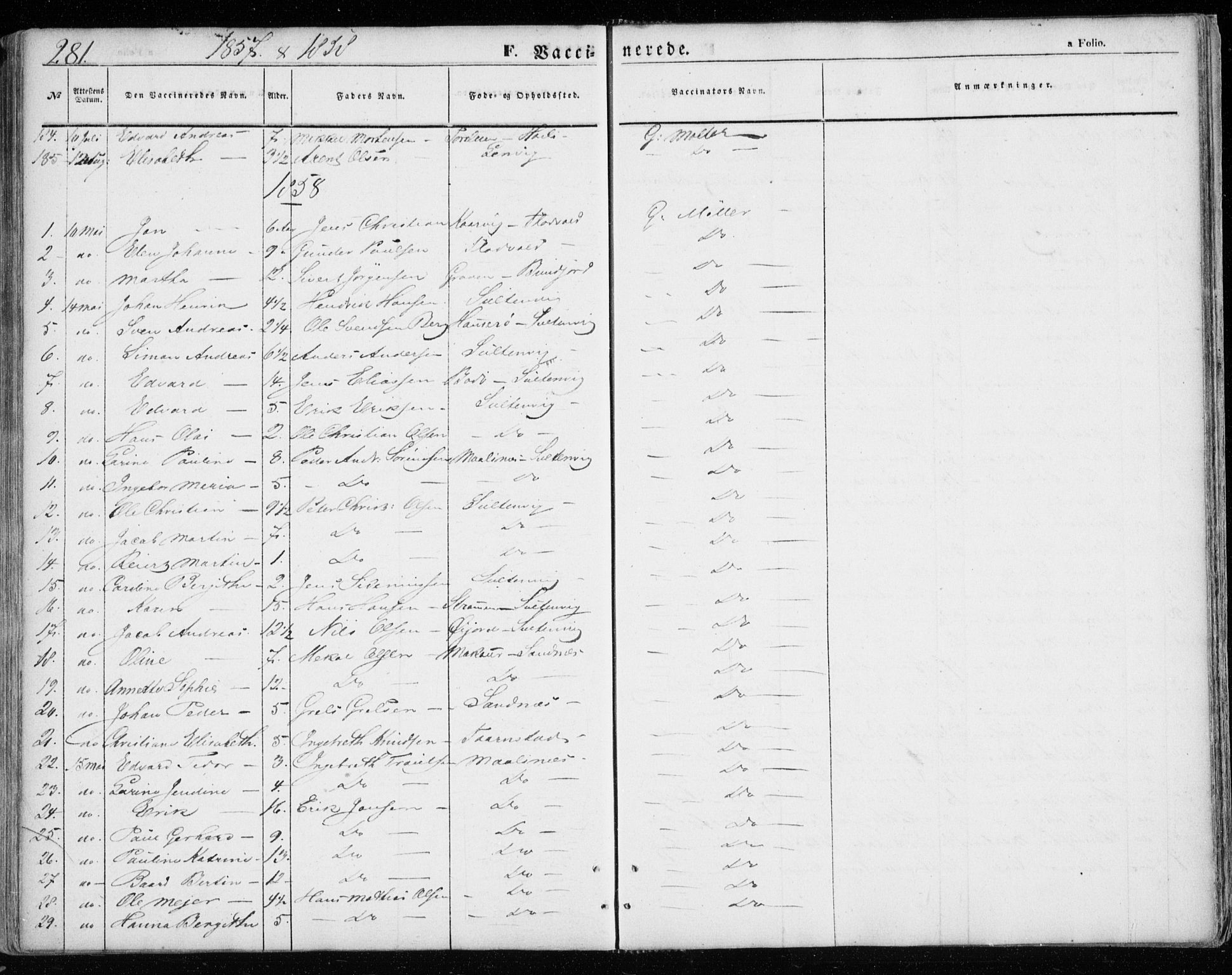 SATØ, Lenvik sokneprestembete, H/Ha: Ministerialbok nr. 7, 1855-1865, s. 281
