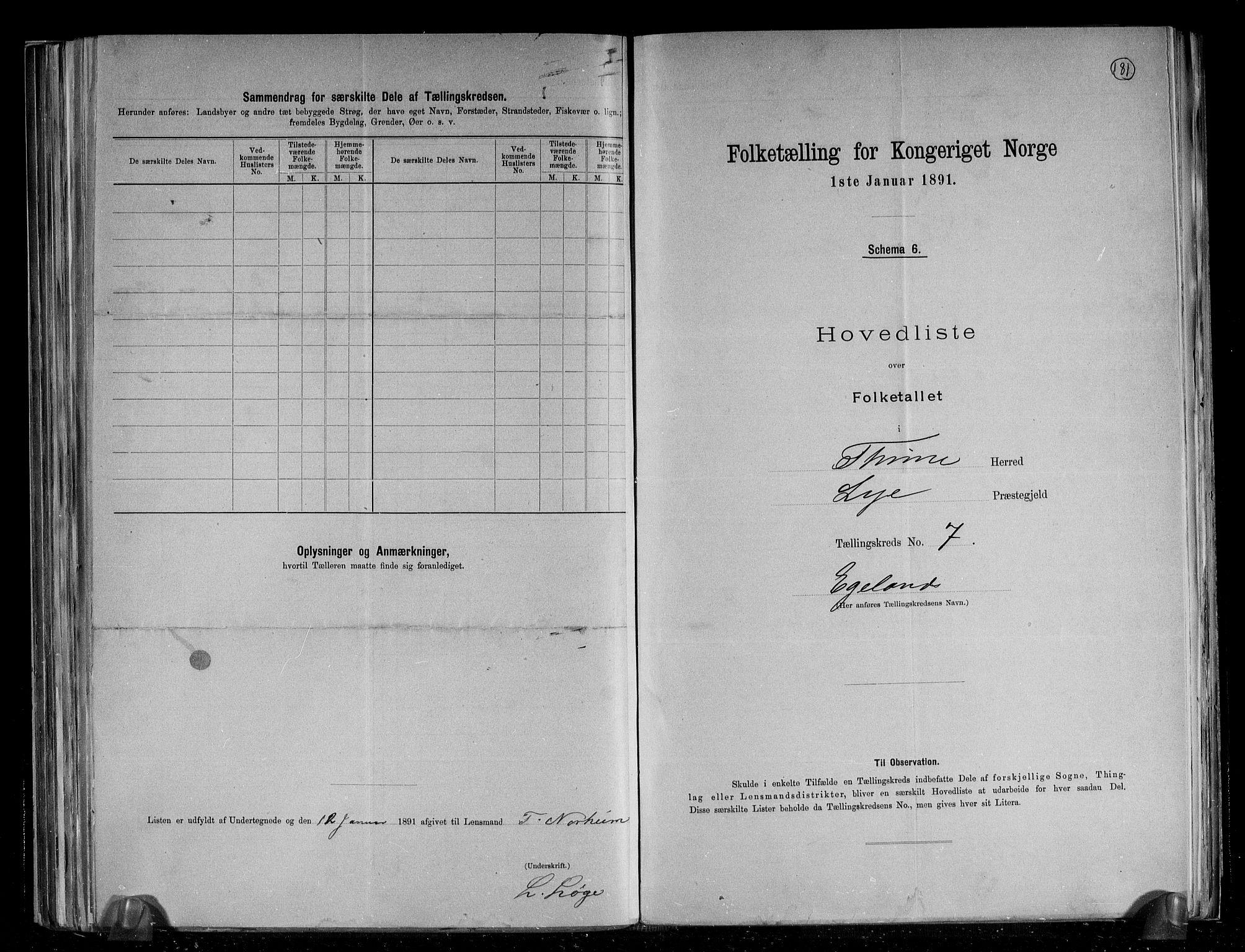 RA, Folketelling 1891 for 1121 Time herred, 1891, s. 19