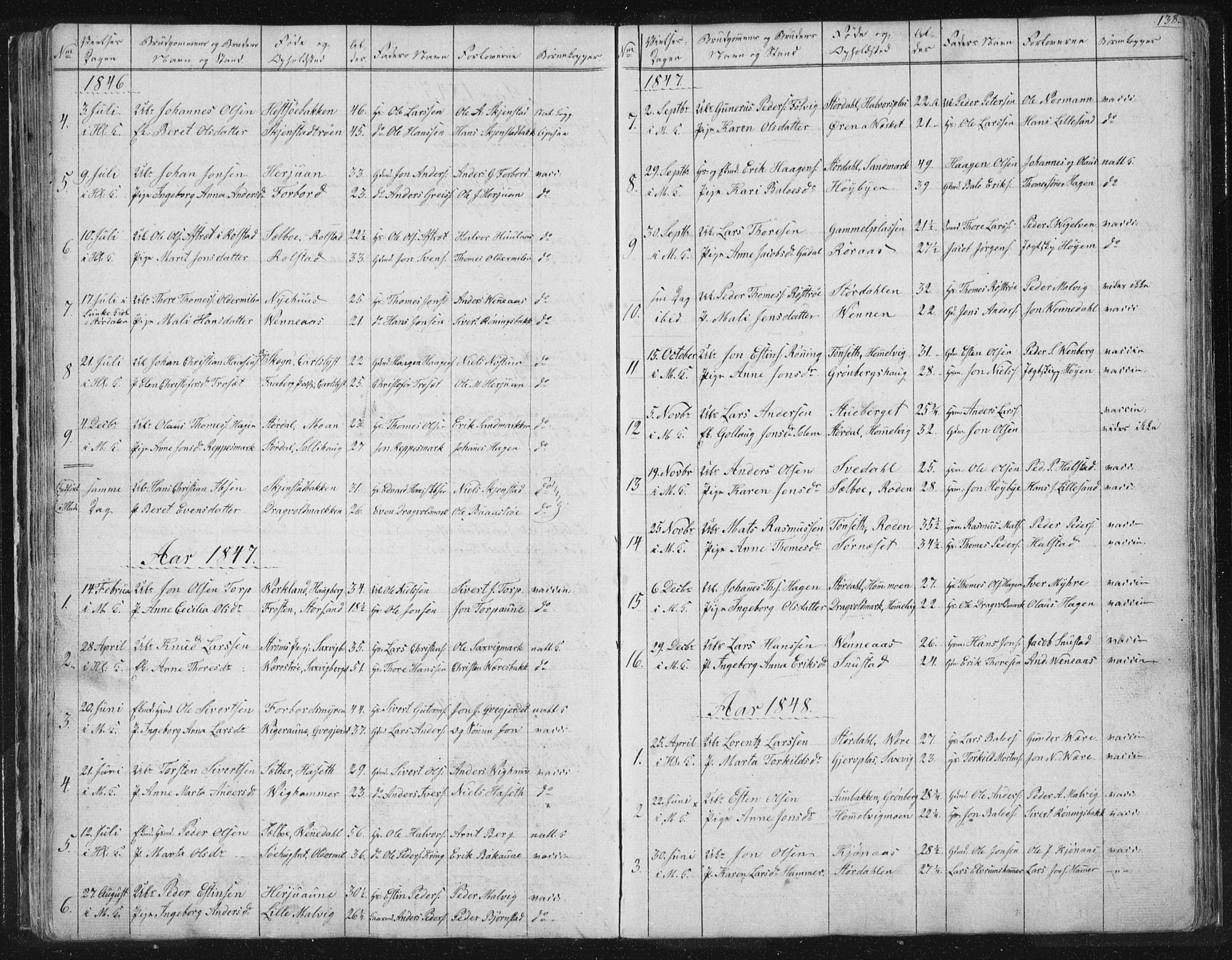 SAT, Ministerialprotokoller, klokkerbøker og fødselsregistre - Sør-Trøndelag, 616/L0406: Ministerialbok nr. 616A03, 1843-1879, s. 138