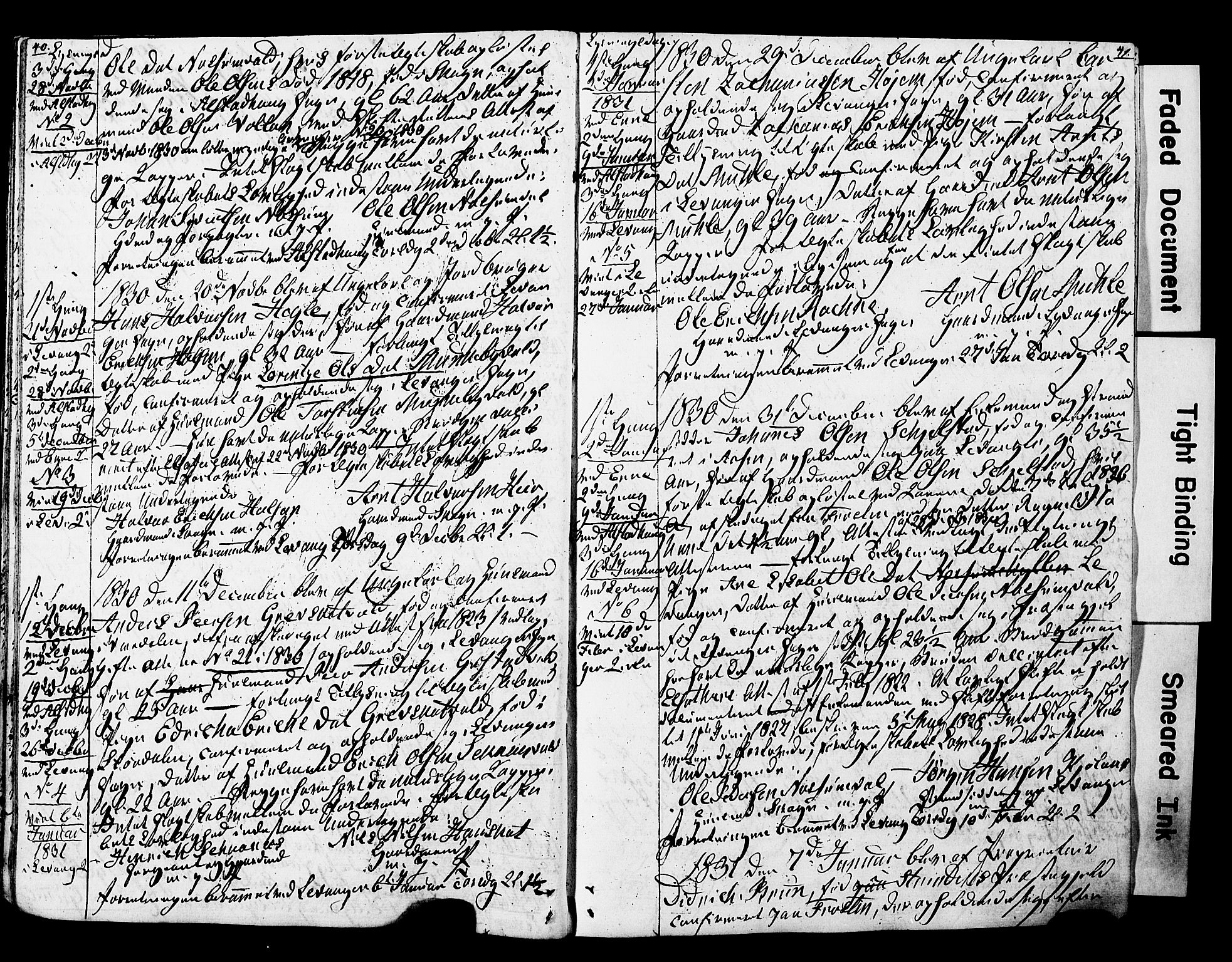 SAT, Ministerialprotokoller, klokkerbøker og fødselsregistre - Nord-Trøndelag, 717/L0160: Forlovererklæringer nr. 717A10, 1828-1850, s. 40-41