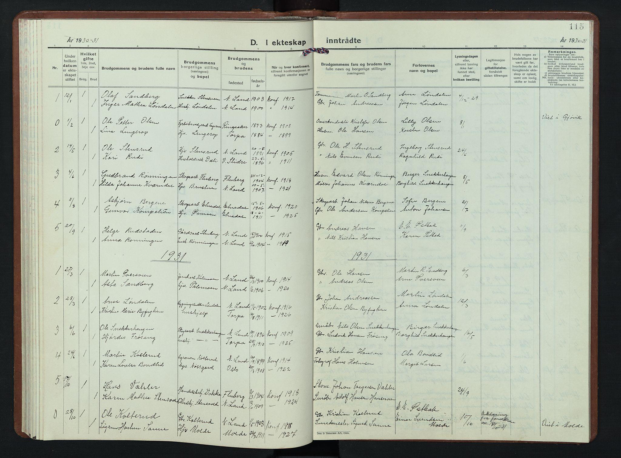 SAH, Nordre Land prestekontor, Klokkerbok nr. 7, 1930-1953, s. 115