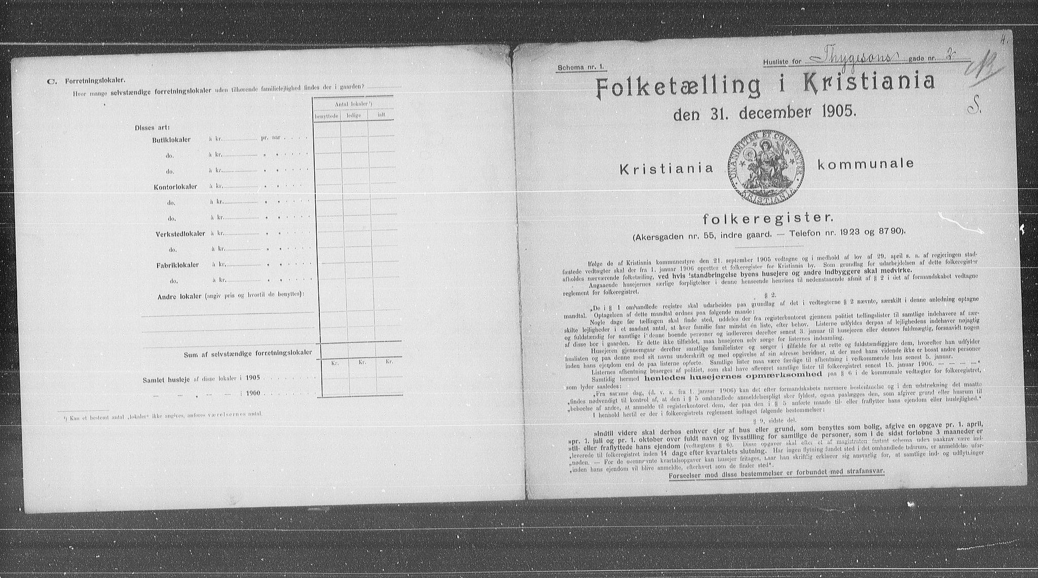 OBA, Kommunal folketelling 1905 for Kristiania kjøpstad, 1905, s. 58417