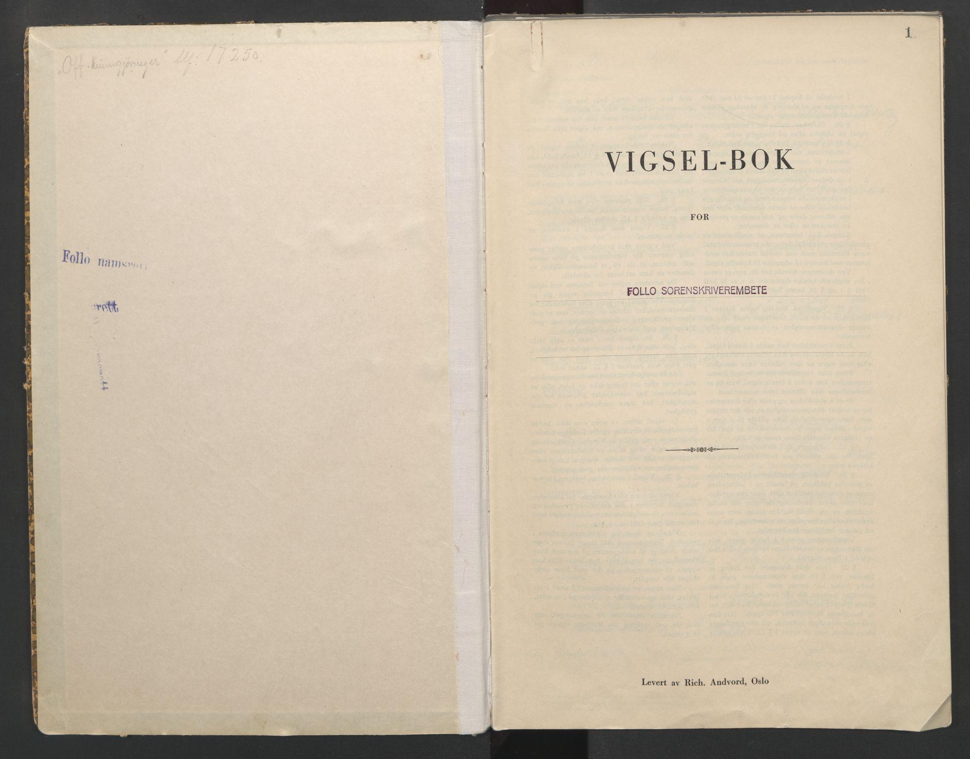 SAO, Follo sorenskriveri, L/La/Lab/L0002: Vigselsbok, 1942-1946, s. 1