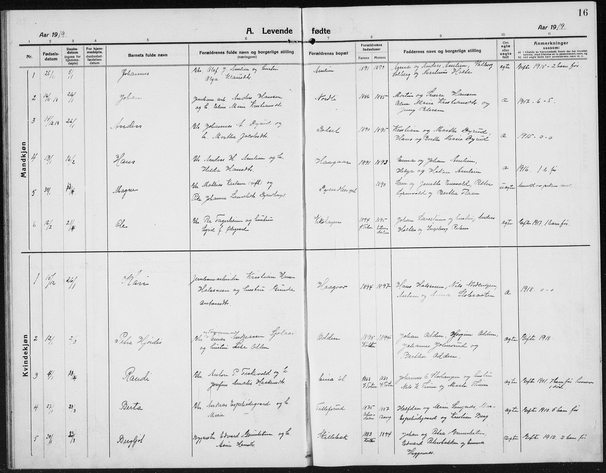 SAH, Kolbu prestekontor, Klokkerbok nr. 6, 1916-1934, s. 16