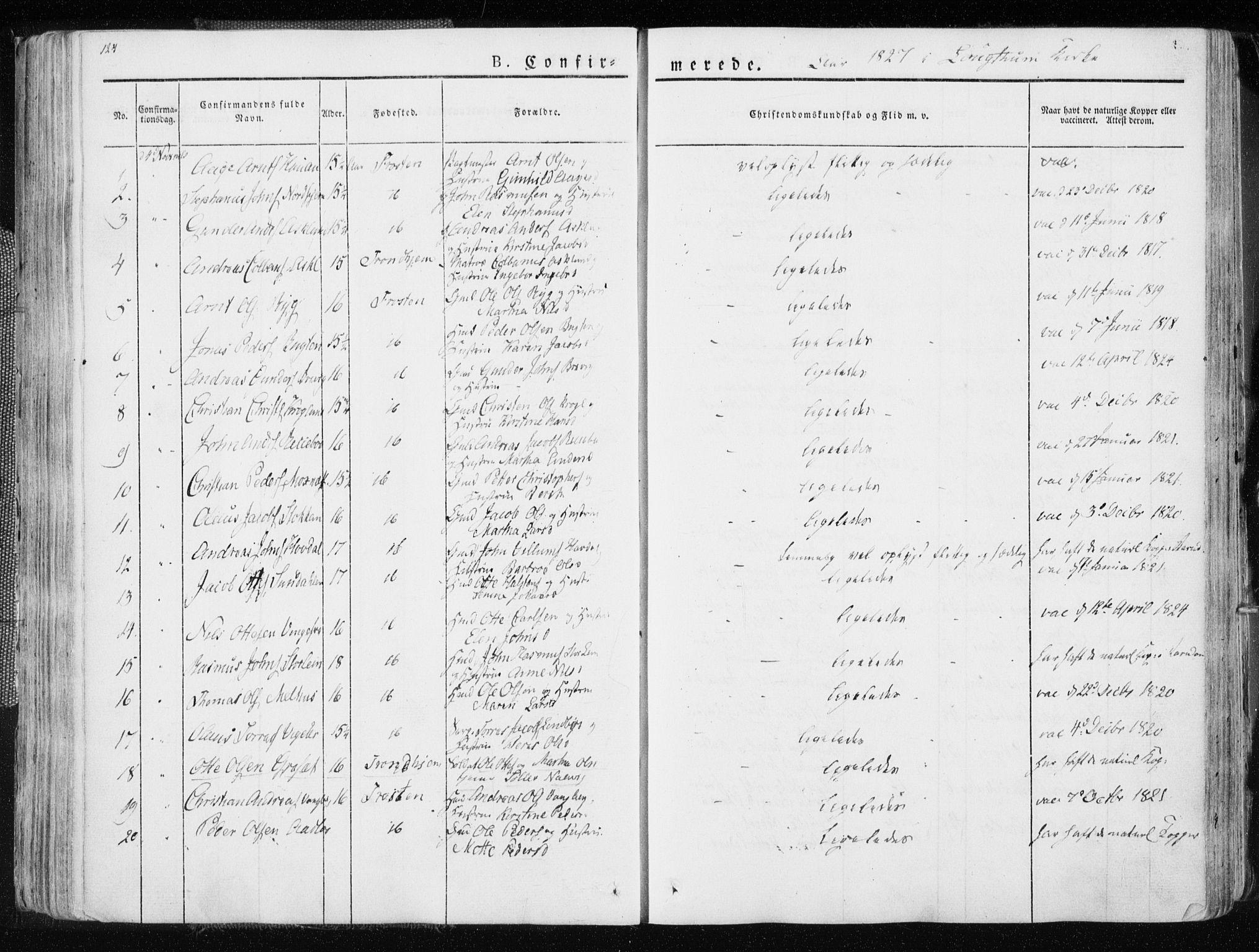 SAT, Ministerialprotokoller, klokkerbøker og fødselsregistre - Nord-Trøndelag, 713/L0114: Ministerialbok nr. 713A05, 1827-1839, s. 124