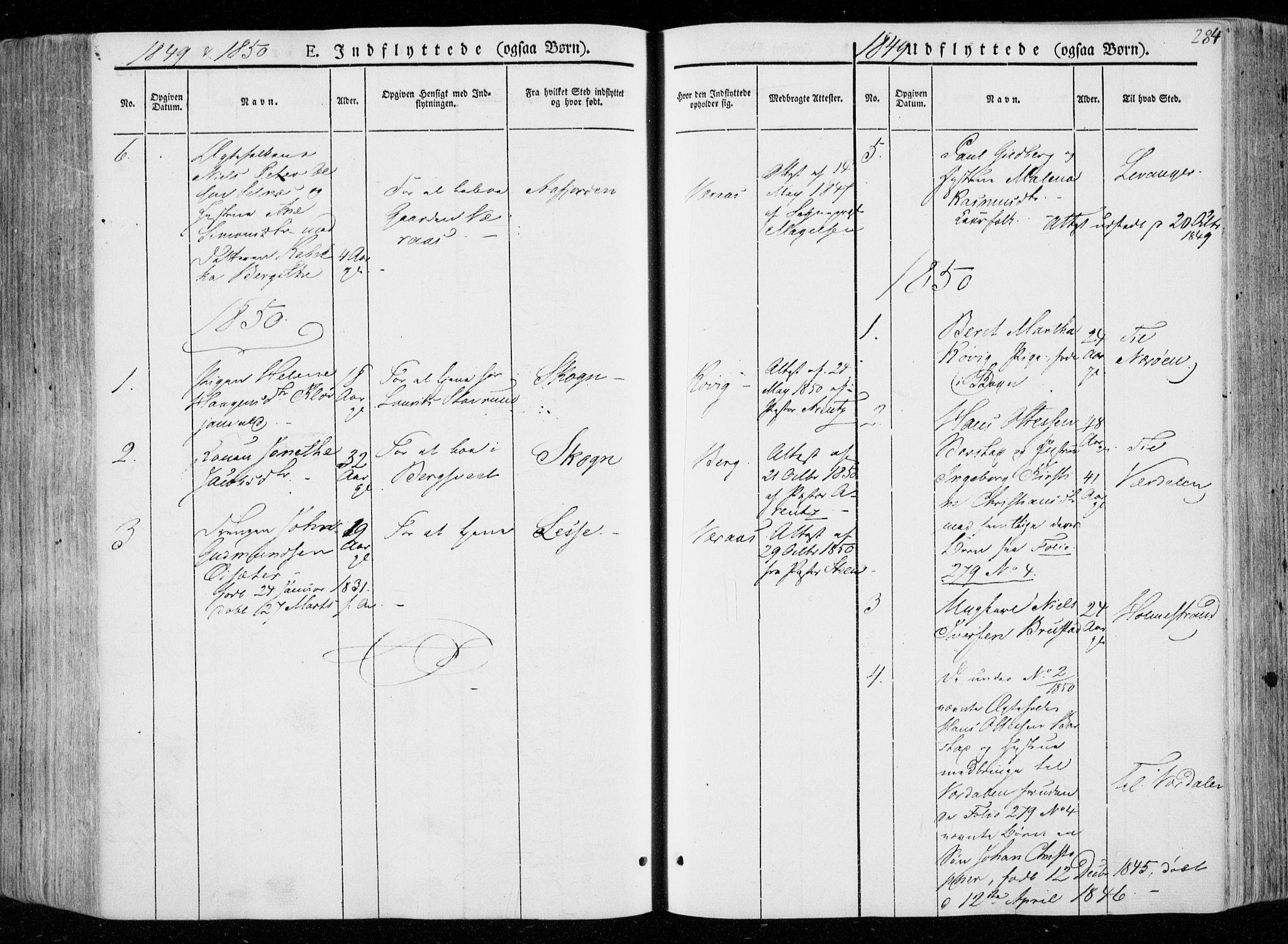 SAT, Ministerialprotokoller, klokkerbøker og fødselsregistre - Nord-Trøndelag, 722/L0218: Ministerialbok nr. 722A05, 1843-1868, s. 284