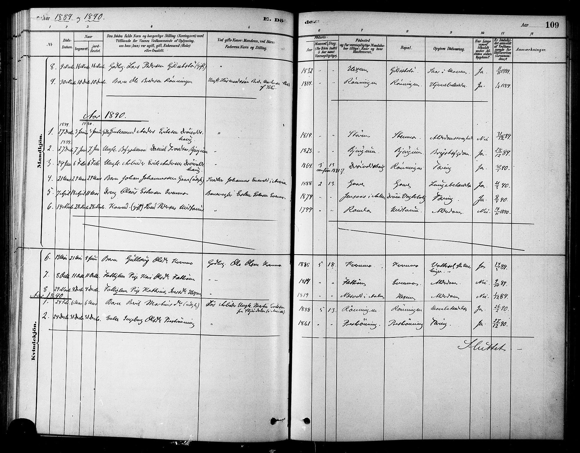 SAT, Ministerialprotokoller, klokkerbøker og fødselsregistre - Sør-Trøndelag, 685/L0972: Ministerialbok nr. 685A09, 1879-1890, s. 109