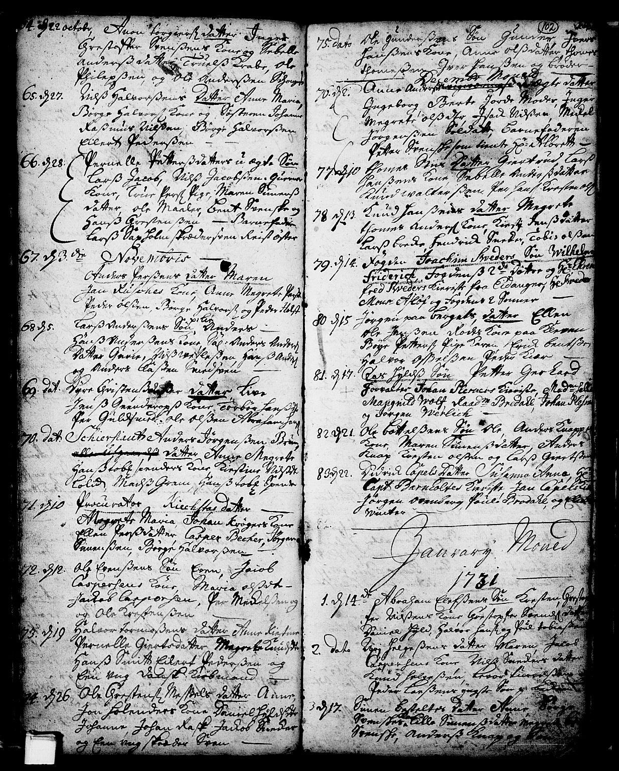 SAKO, Skien kirkebøker, F/Fa/L0002: Ministerialbok nr. 2, 1716-1757, s. 102