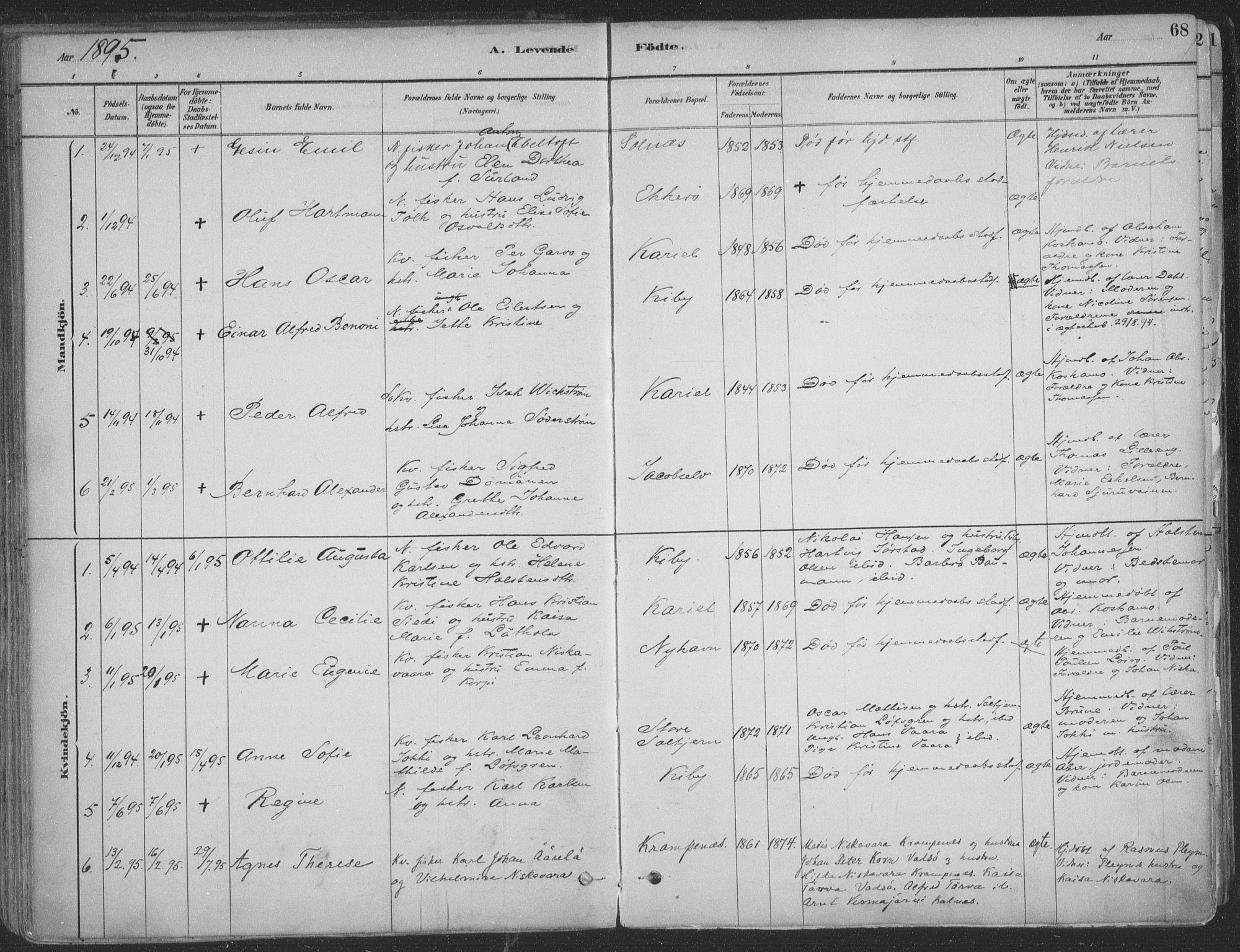SATØ, Vadsø sokneprestkontor, H/Ha/L0009kirke: Ministerialbok nr. 9, 1881-1917, s. 68