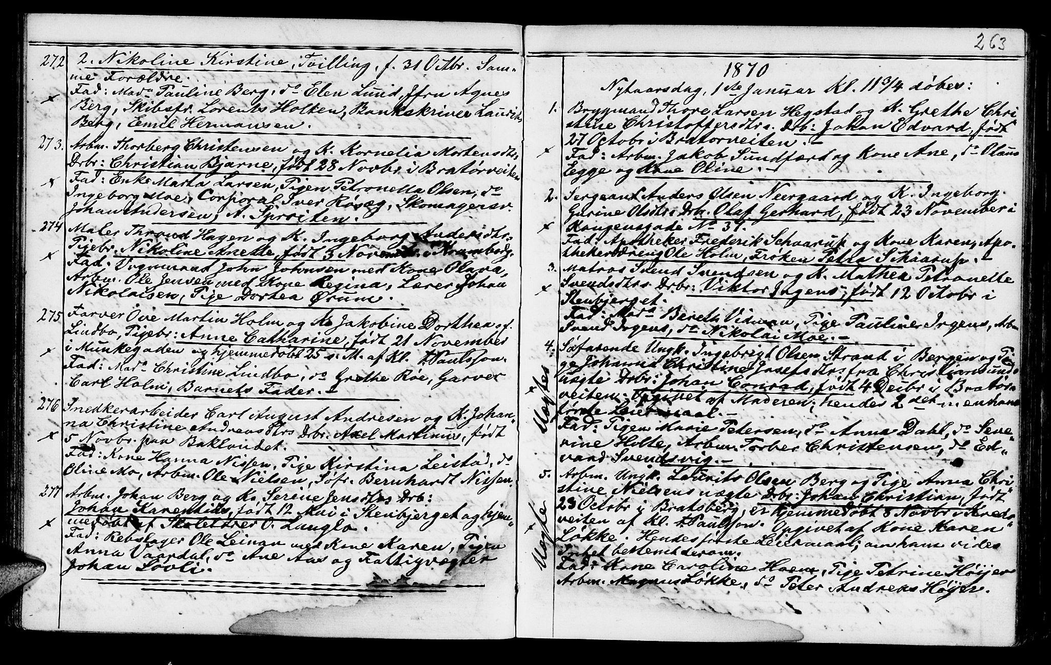 SAT, Ministerialprotokoller, klokkerbøker og fødselsregistre - Sør-Trøndelag, 602/L0140: Klokkerbok nr. 602C08, 1864-1872, s. 262-263