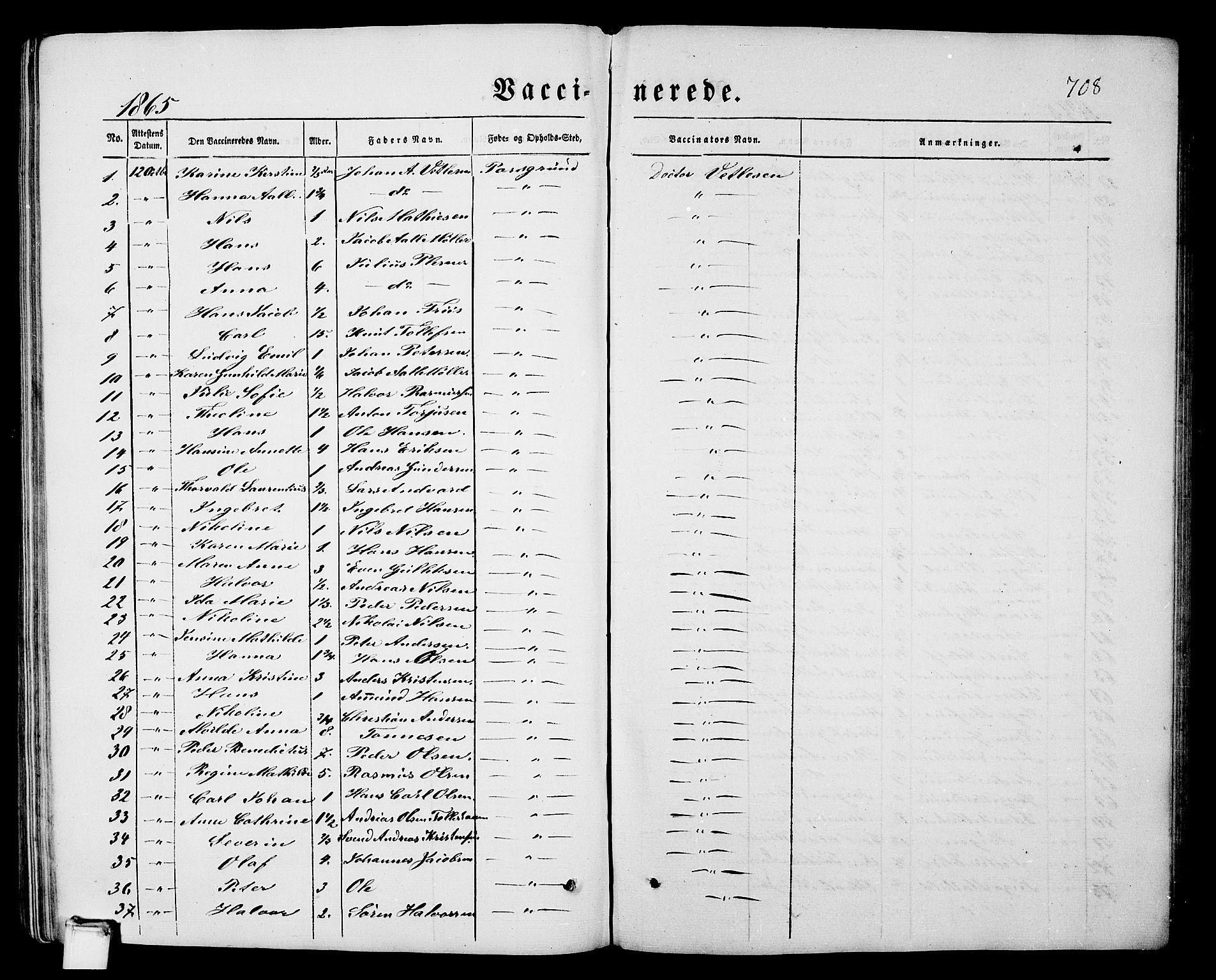 SAKO, Porsgrunn kirkebøker , G/Gb/L0004: Klokkerbok nr. II 4, 1853-1882, s. 708