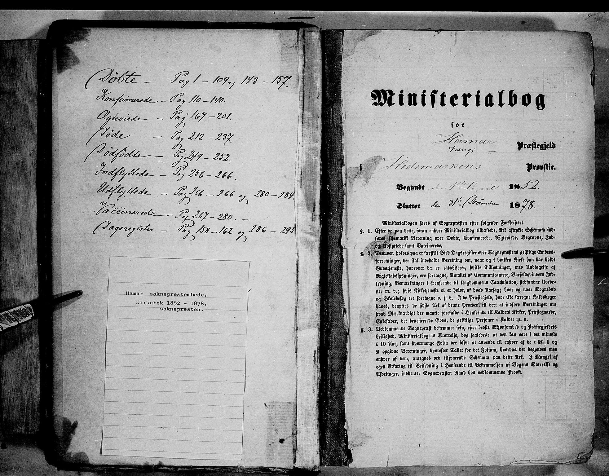SAH, Vang prestekontor, Hedmark, H/Ha/Haa/L0011: Ministerialbok nr. 11, 1852-1877