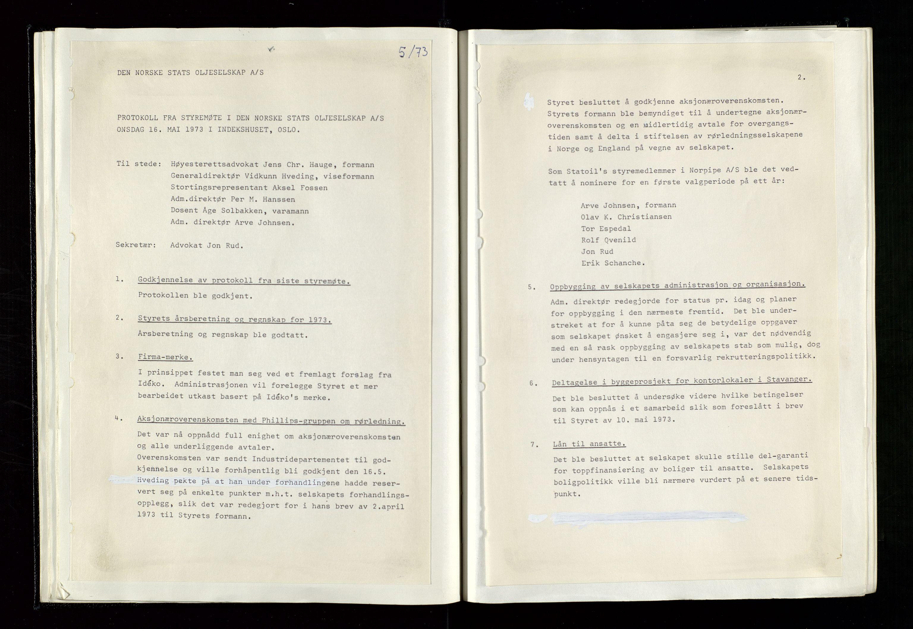 SAST, Pa 1339 - Statoil ASA, A/Ab/Aba/L0001: Styremøteprotokoller, 05.10.1972 til 14.12.1978, 1972-1978, s. 25