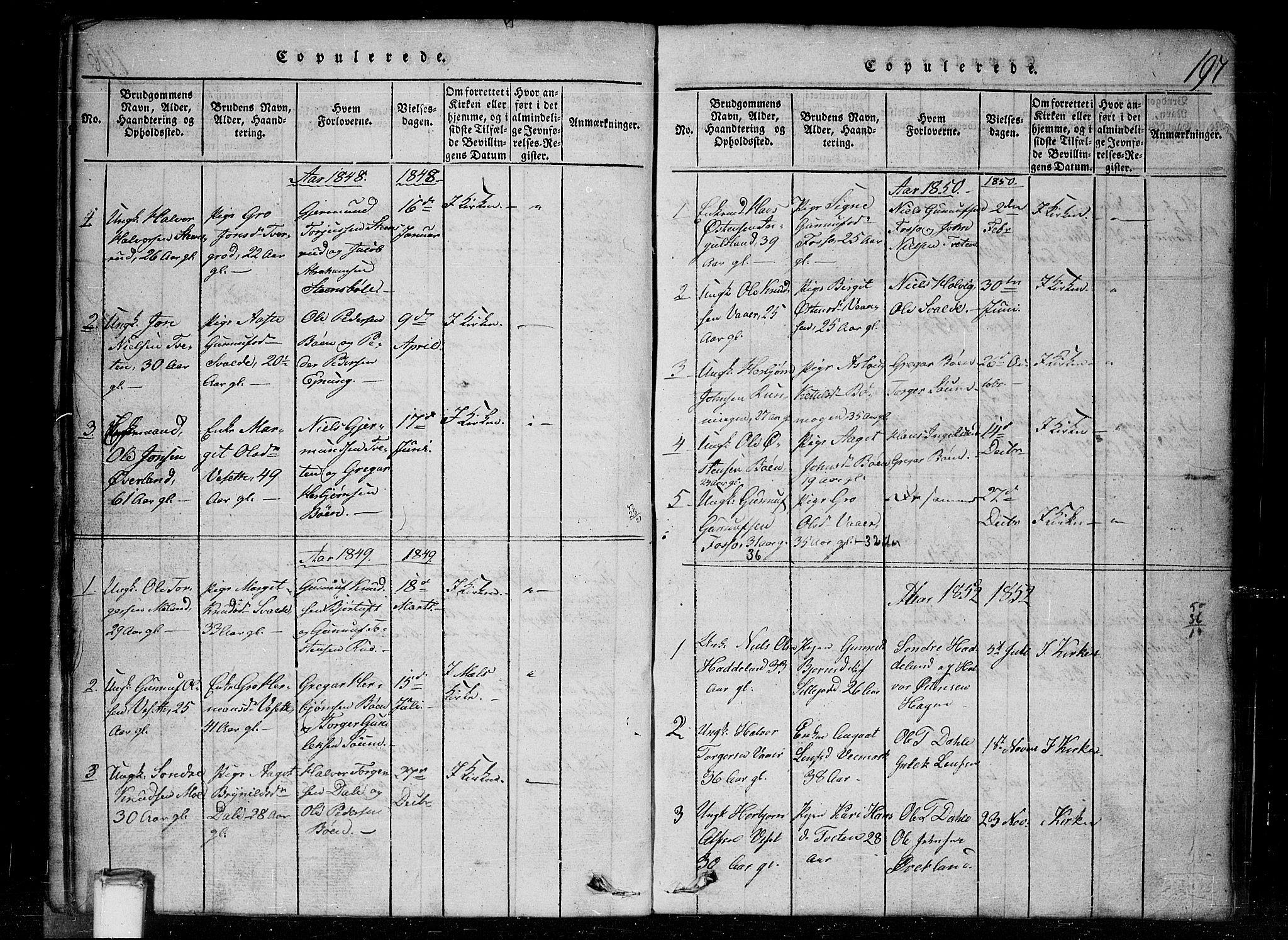 SAKO, Tinn kirkebøker, G/Gc/L0001: Klokkerbok nr. III 1, 1815-1879, s. 197