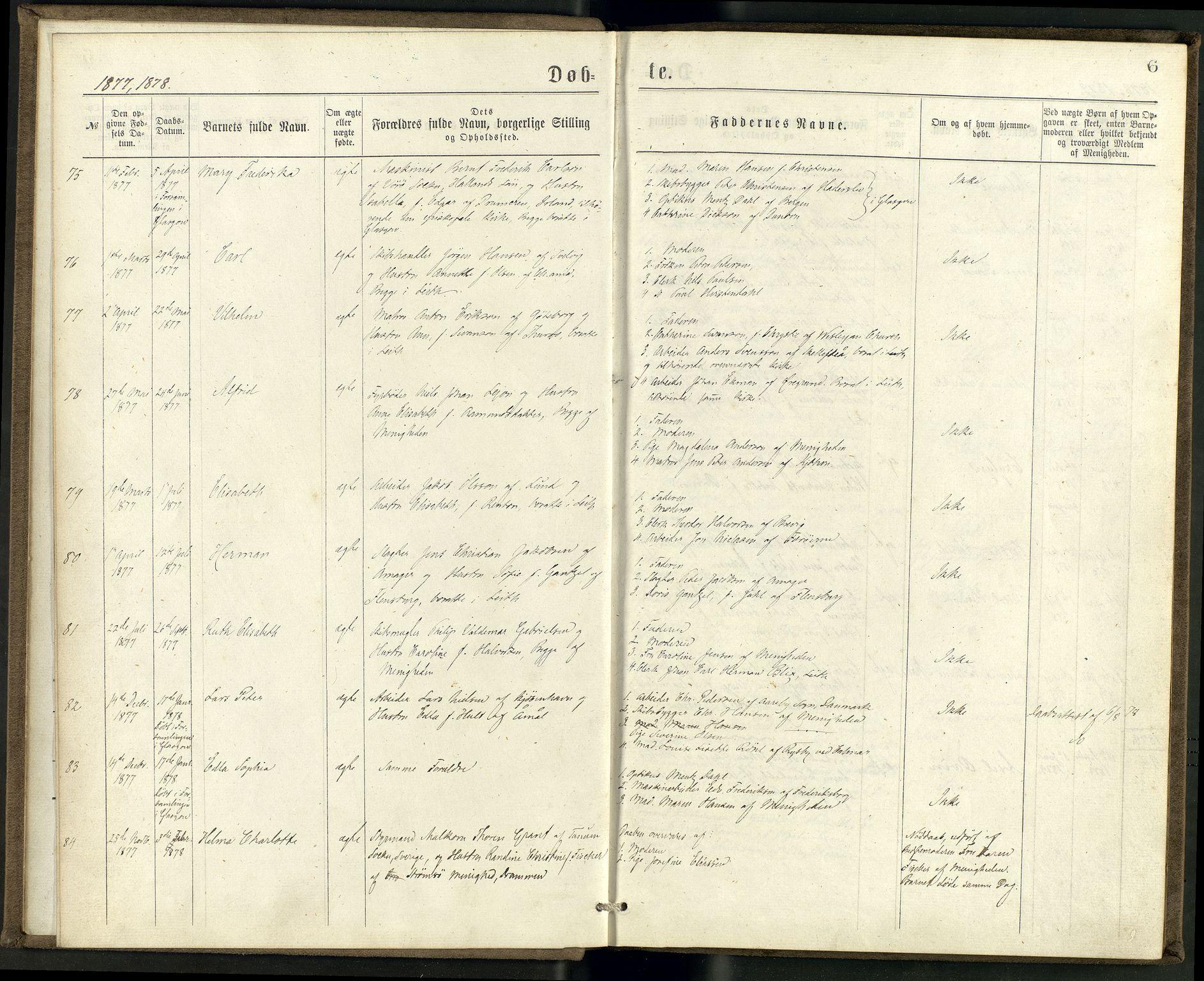 SAB, Privatarkiv 100 - Den norske sjømannsmisjon i utlandet/Skotske havner (Leith, Glasgow), H/Ha/Haa/L0002: Ministerialbok nr. A 2, 1877-1887, s. 5b-6a