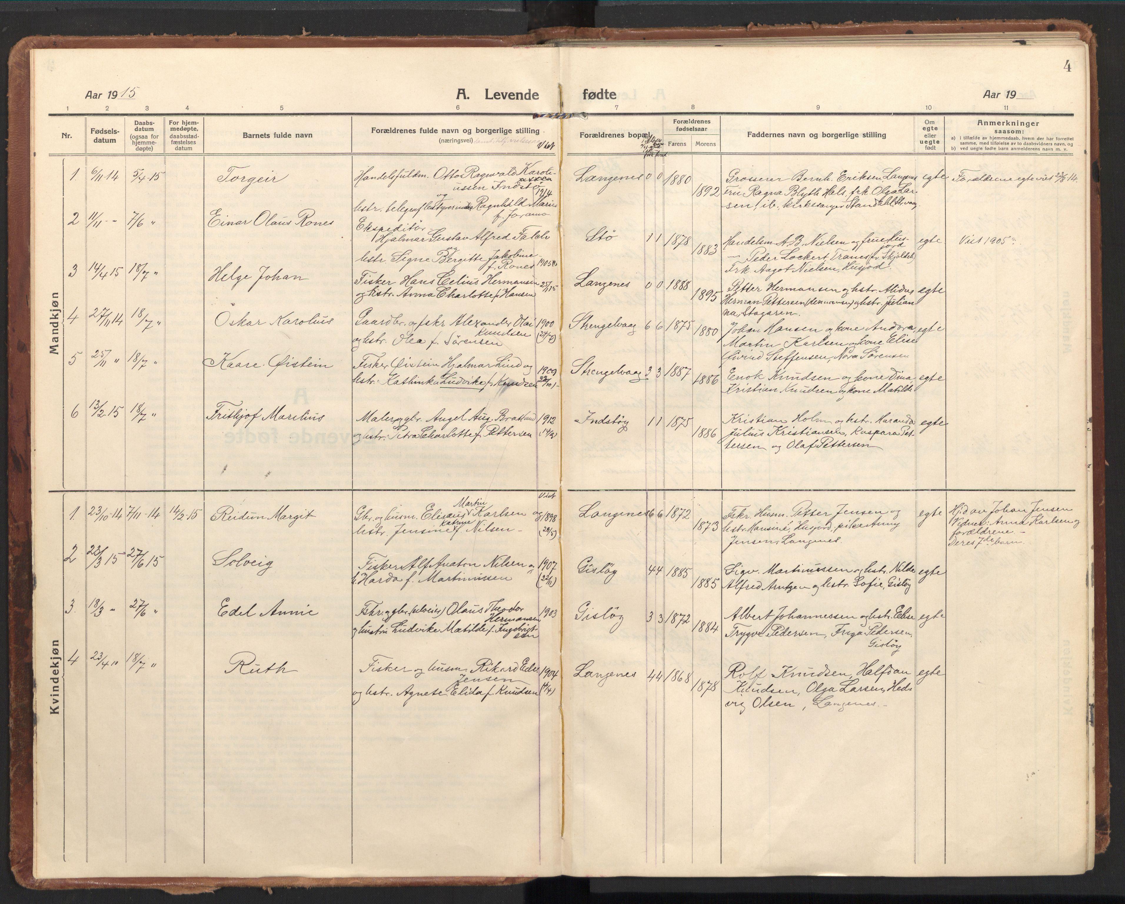 SAT, Ministerialprotokoller, klokkerbøker og fødselsregistre - Nordland, 894/L1357: Ministerialbok nr. 894A03, 1913-1934, s. 4